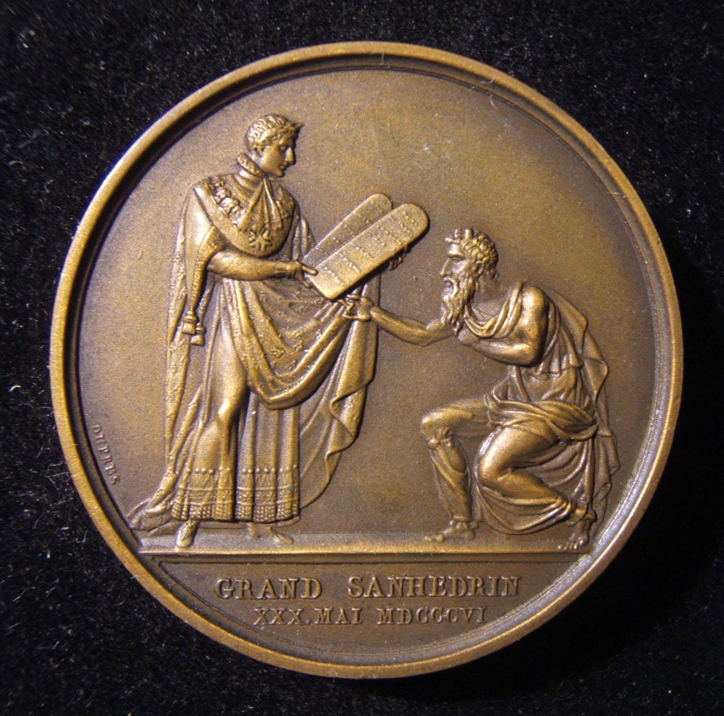 Frankreich: Großer Sanhedrin Medaille (Nachbildung, 1880-1950), 1806; aus Bronze; Vorderseite Design von de Paulis, Rückseite von du Pres; Größe: 41,5 mm, Gewicht: 36,75 g. Vorders
