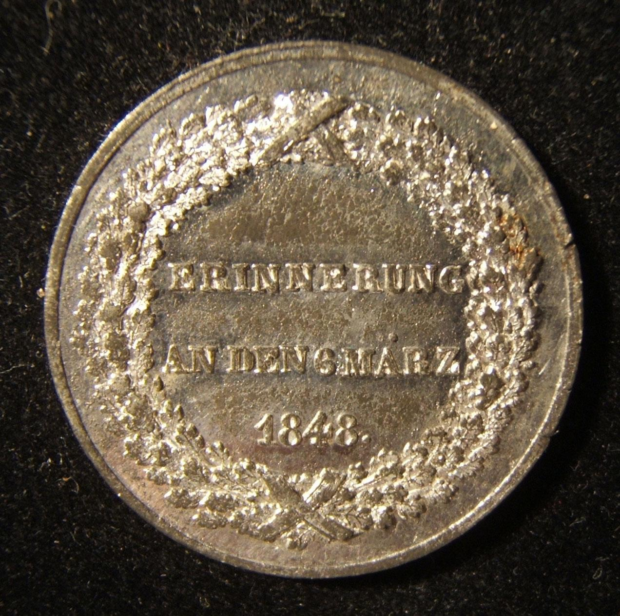 Germany > Bavaria: Souvenir token of the March 1848 revolution, c. 1849; silver-finished tin(?); not maker-marked; size: 30mm; weight: 8.55g; thickness: 2.25mm. Obverse: 3-lined