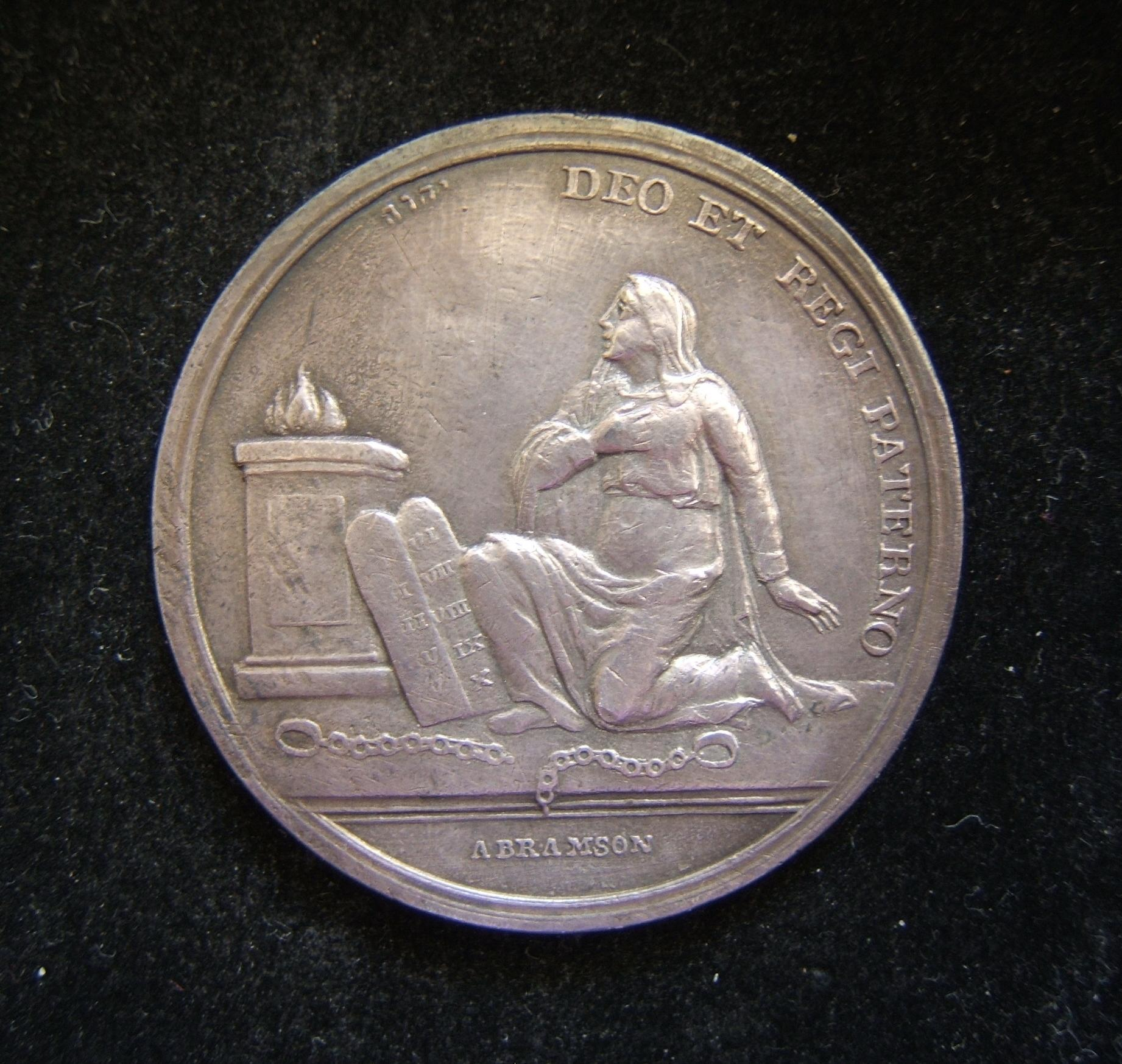 Germany > Westfalia: silver medal Emancipation of the Jews of Westfalia by Jerome Bonaparte, 1808; by Abraham Abramson; size: 42.5mm; weight: 25.8g. Obv.: 'Judaism' freed from c