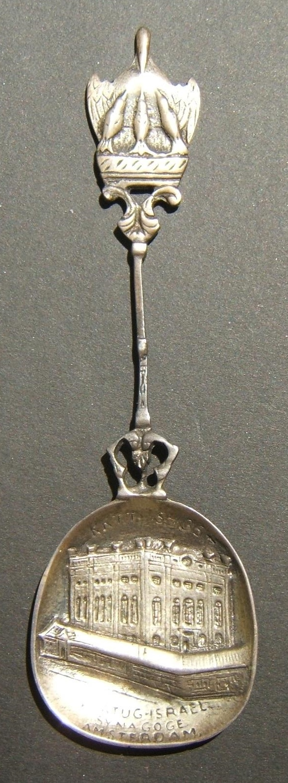Netherlands: cast silver spoon commemorating 250th Anniversary of Portuguese -Jewish Synagogue, 1925; by E.L. Molenberg & Zoon (Groningen); size: 37.75 x 123mm; weight: 17.45g.
