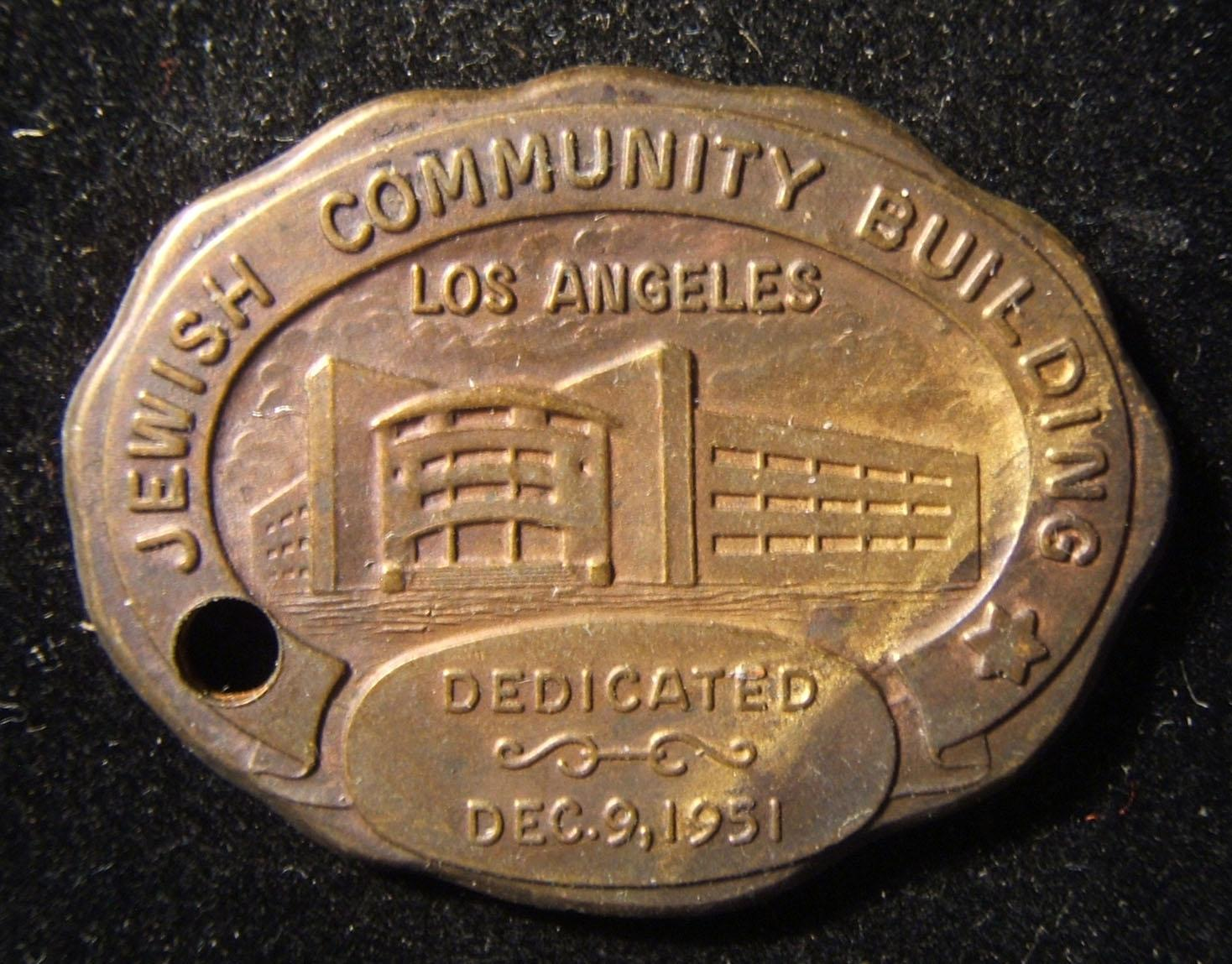 US: Los Angeles Jewish Community Building establishment commemorative tallion, with image of the structure and dedication date below (Dec. 9 1951), with quotation from Yeshayahu on