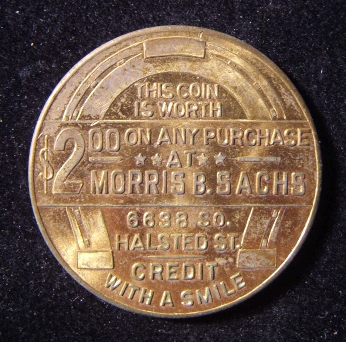 US: Morris B. Sachs clothing store Franklin Roosevelt $2 token