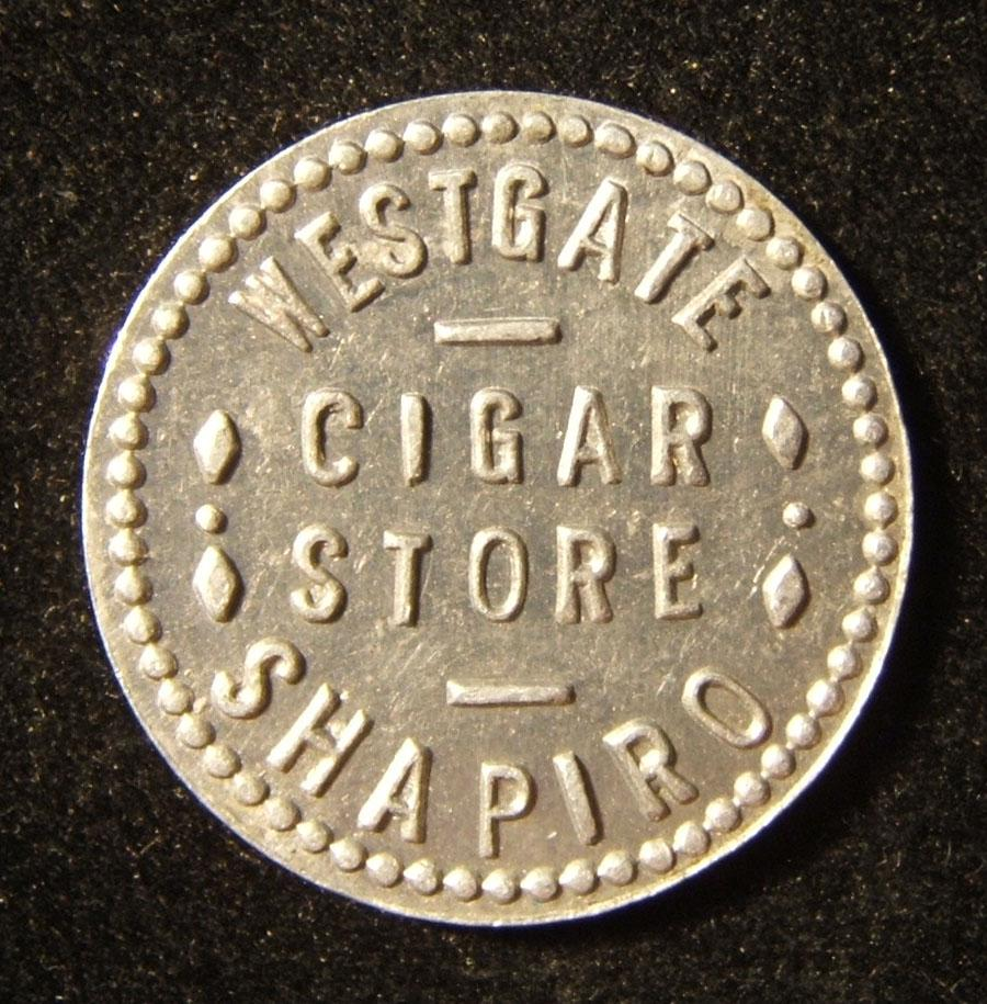 US: Shapiro Zigarrenladen von Westgate (Ohio?), 10-Cent Token aus Zinn