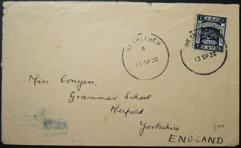 9/1920 نادر فلسطين BETHLEHEM الهيكل العظمي على 1 البريد مفكوك قرش البريد إلى المملكة المتحدة