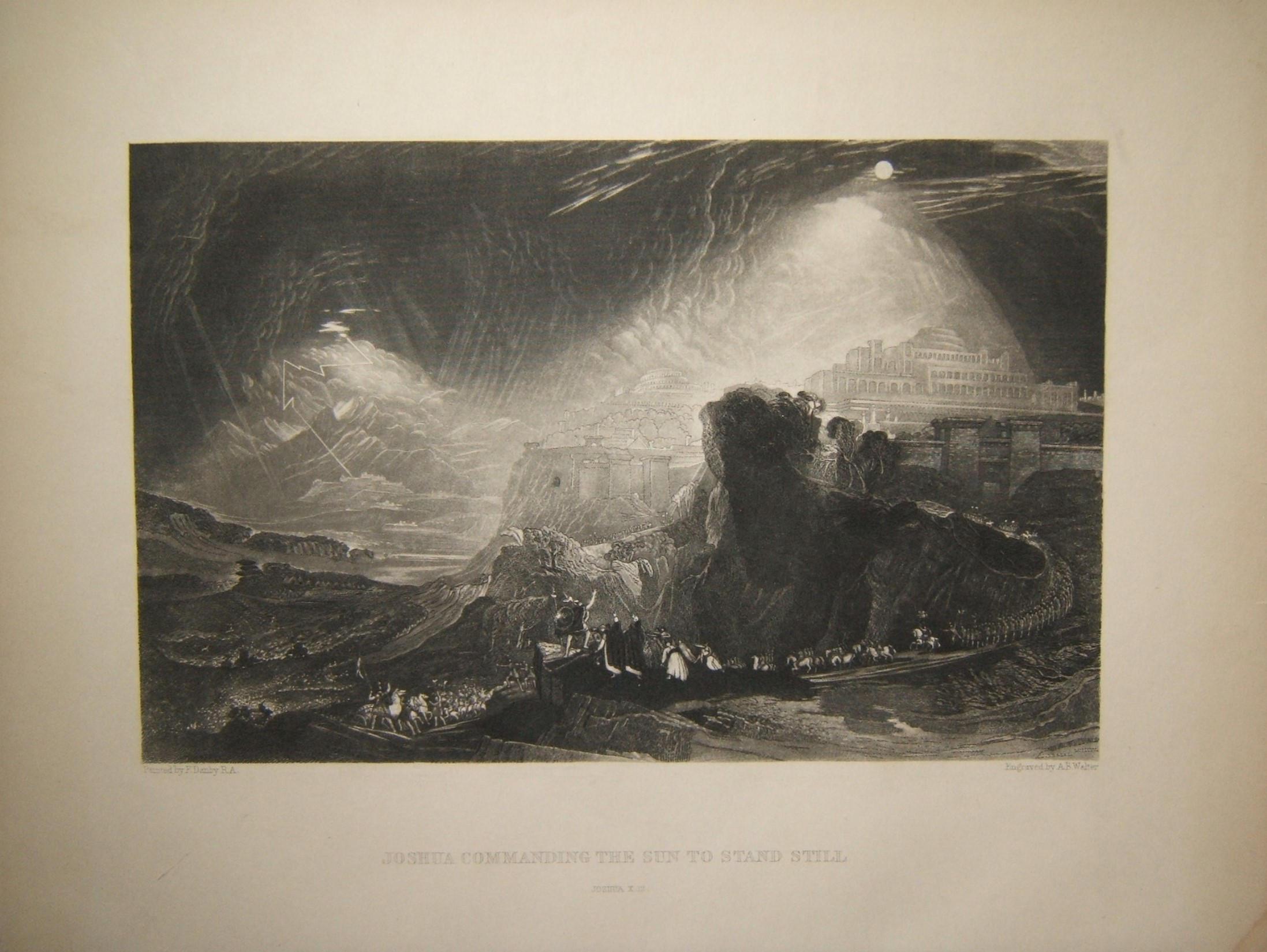 طباعة الكتاب المقدس يشوع قيادة الشمس للوقوف ؛ Danby RA & Walter، 19th 19th