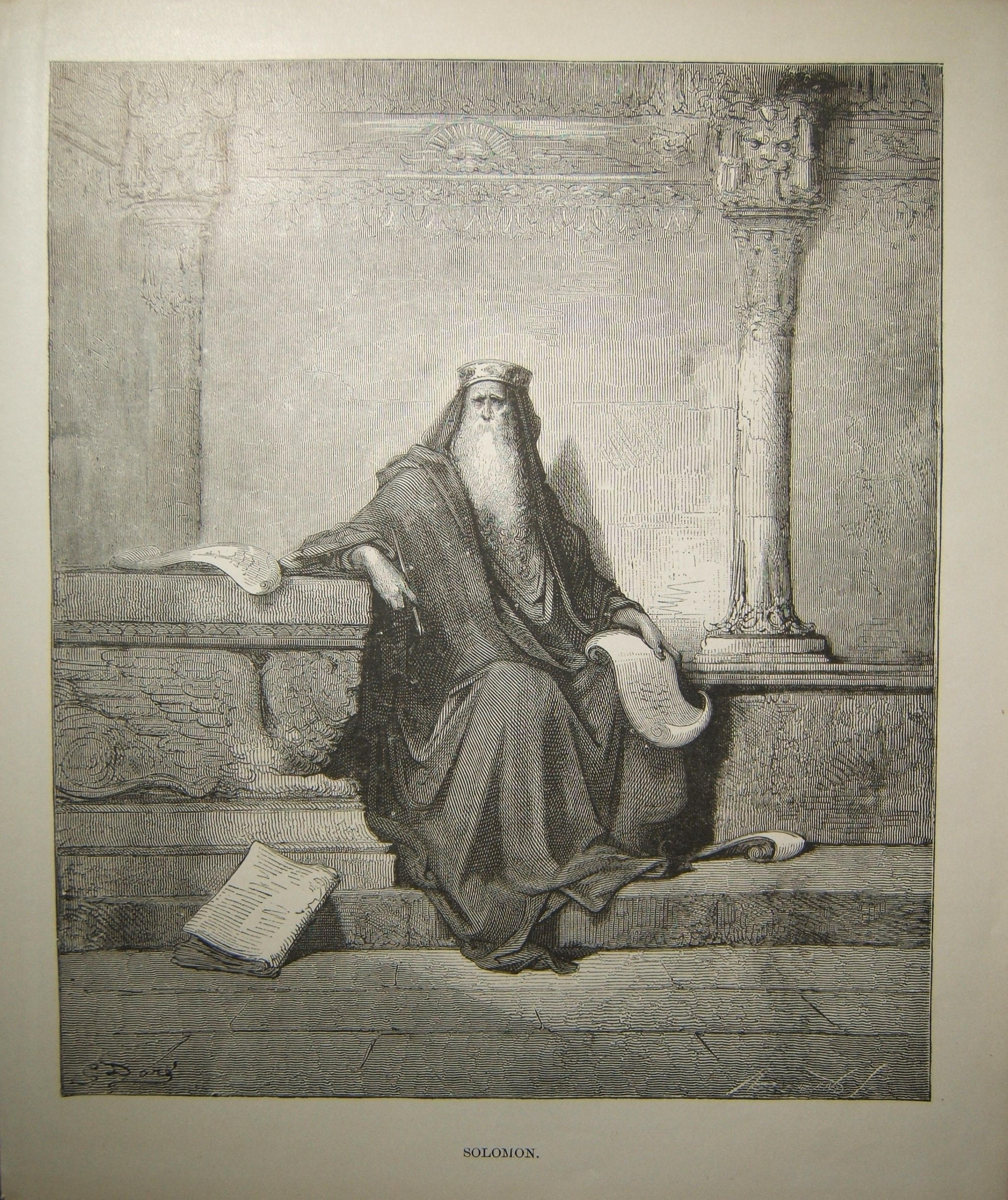 Judaica Biblical print Solomon by Gustave Doré، c.19th Century