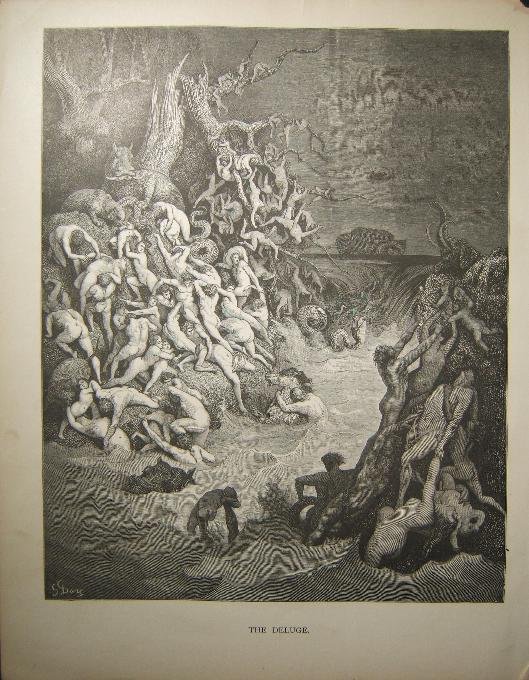 Judaica Biblical print The Deluge by Gustave Doré, c.19th Century