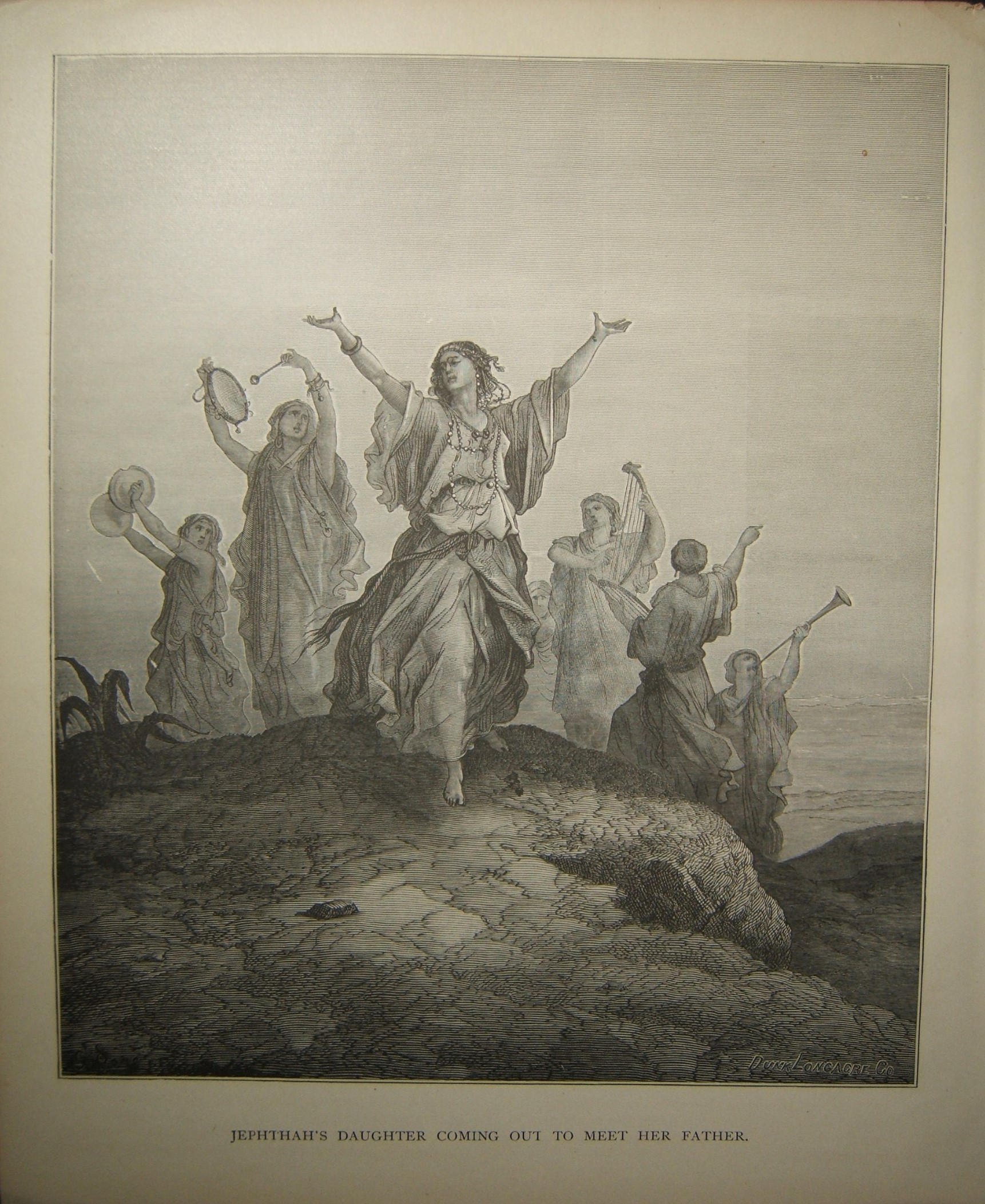 Biblical print Jepthah's Daughter Coming out to Meet her Father; Doré & Longacre