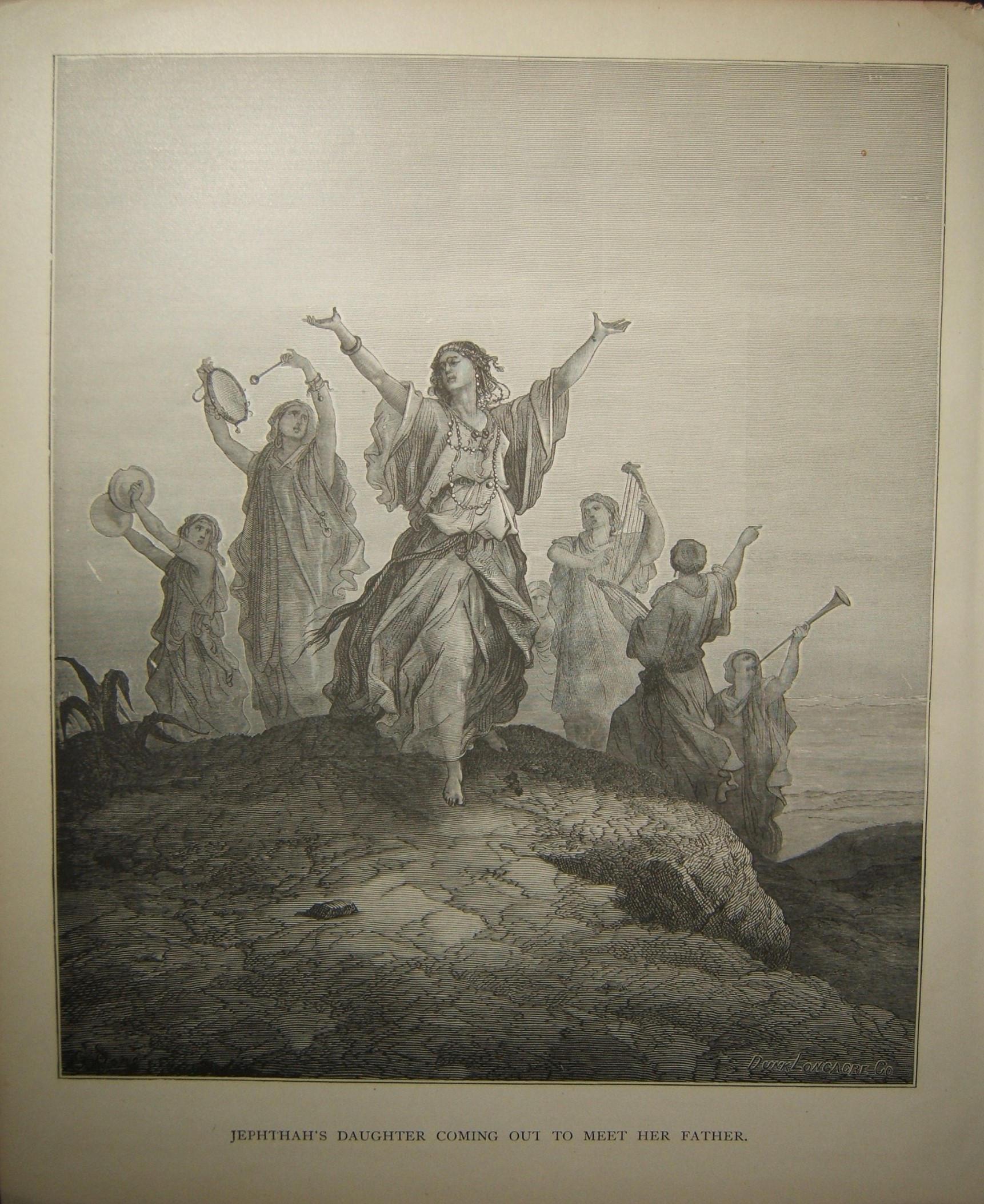 Biblischer Druck Jepthahs Tochter kommt heraus, um ihren Vater zu treffen; Doré & Longacre