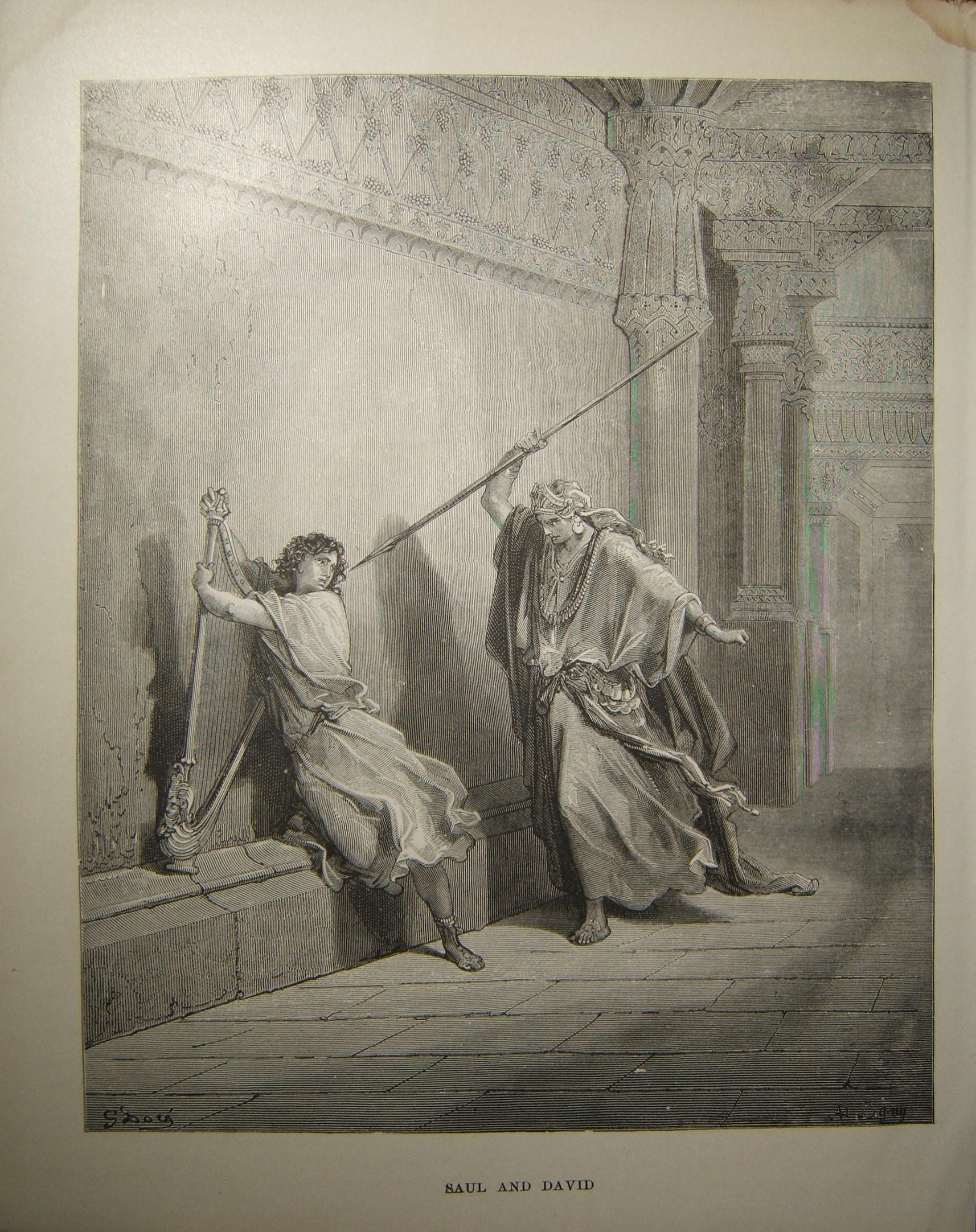 Judaica Biblical print Saul and David by Gustave Doré، c.19th Century