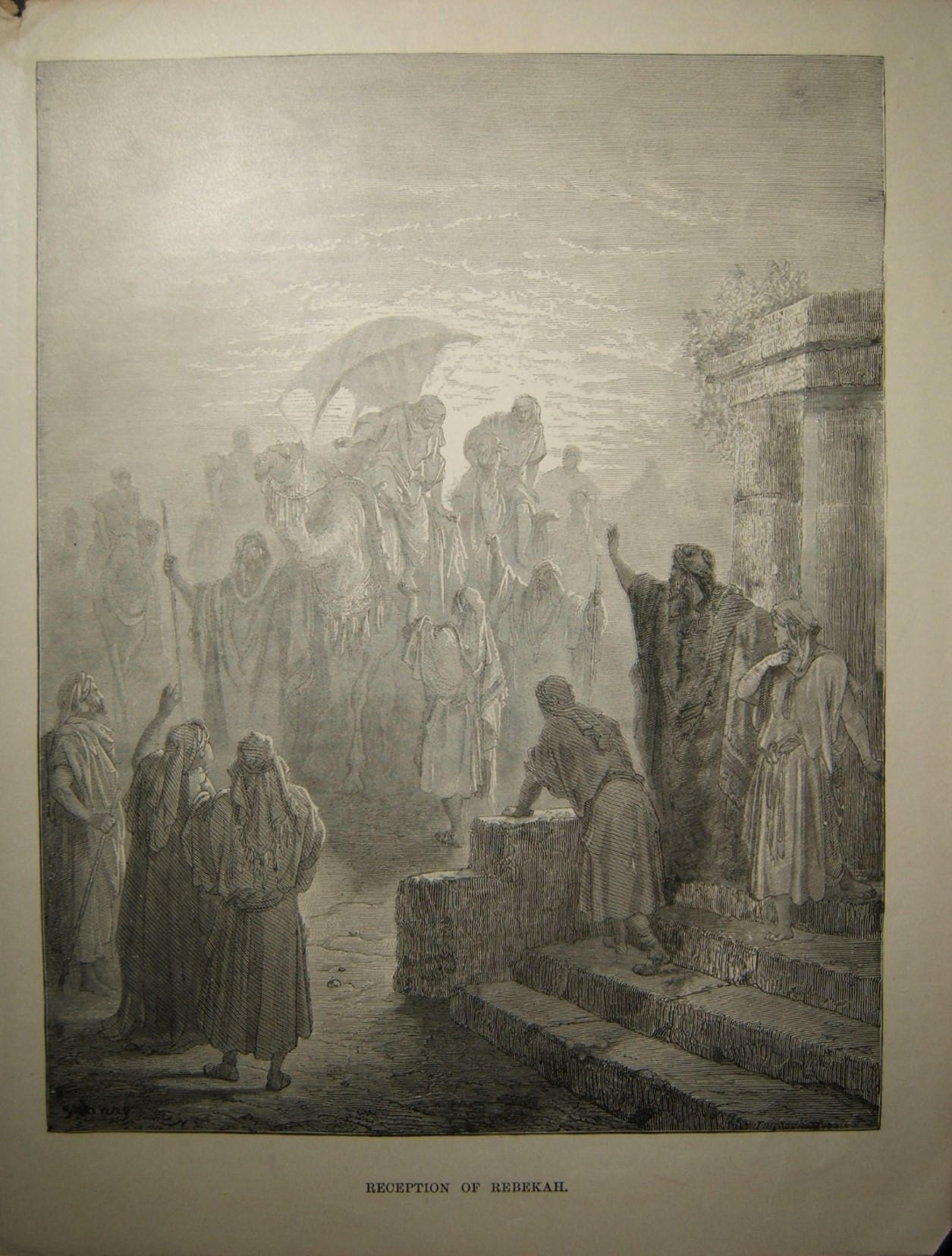 Judaica Biblical print Reception of Rebekah by Gustave Doré, c.19th Century