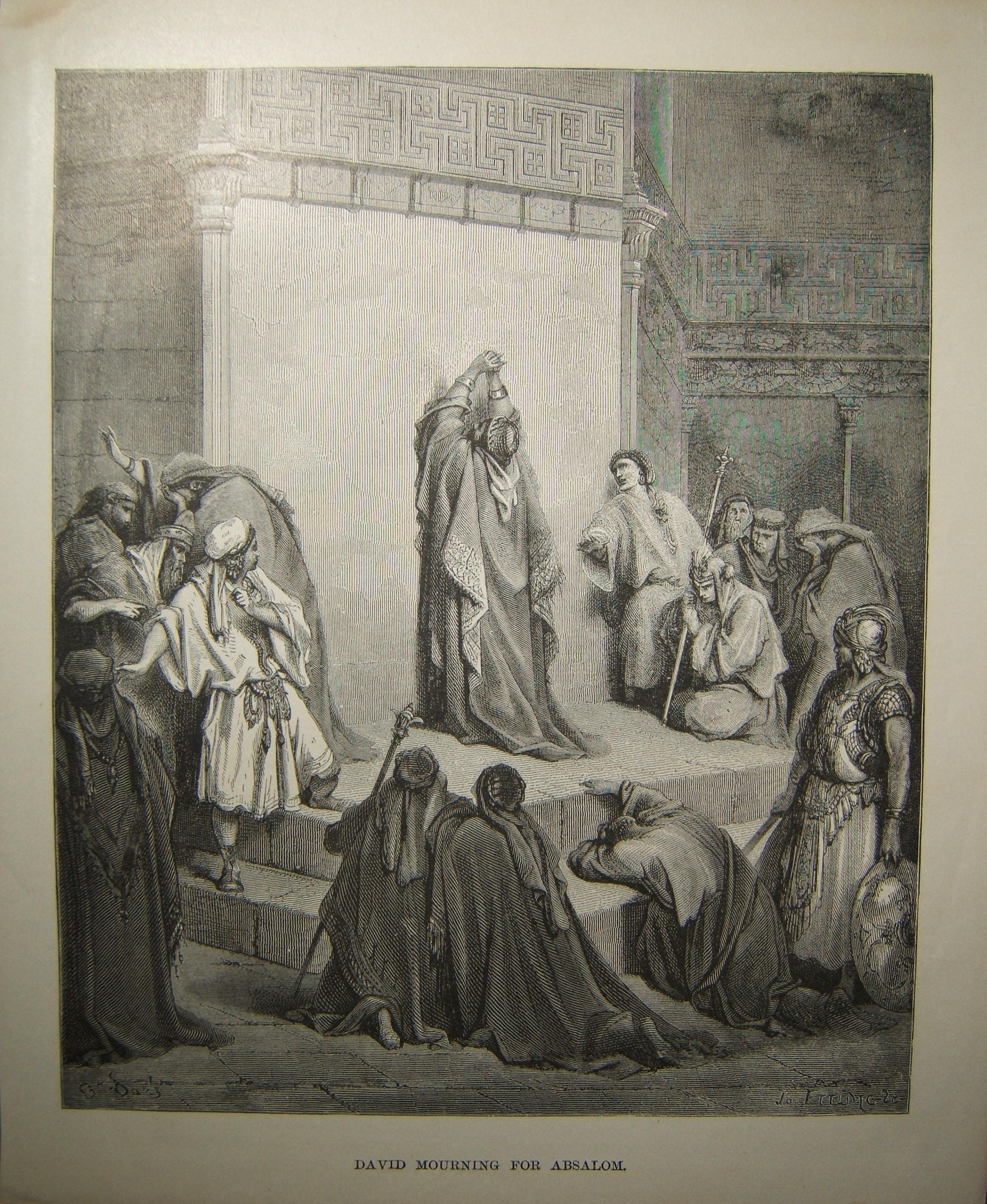 Judaica Biblical print David Mourning for Absalom by Gustave Doré c.19th Century