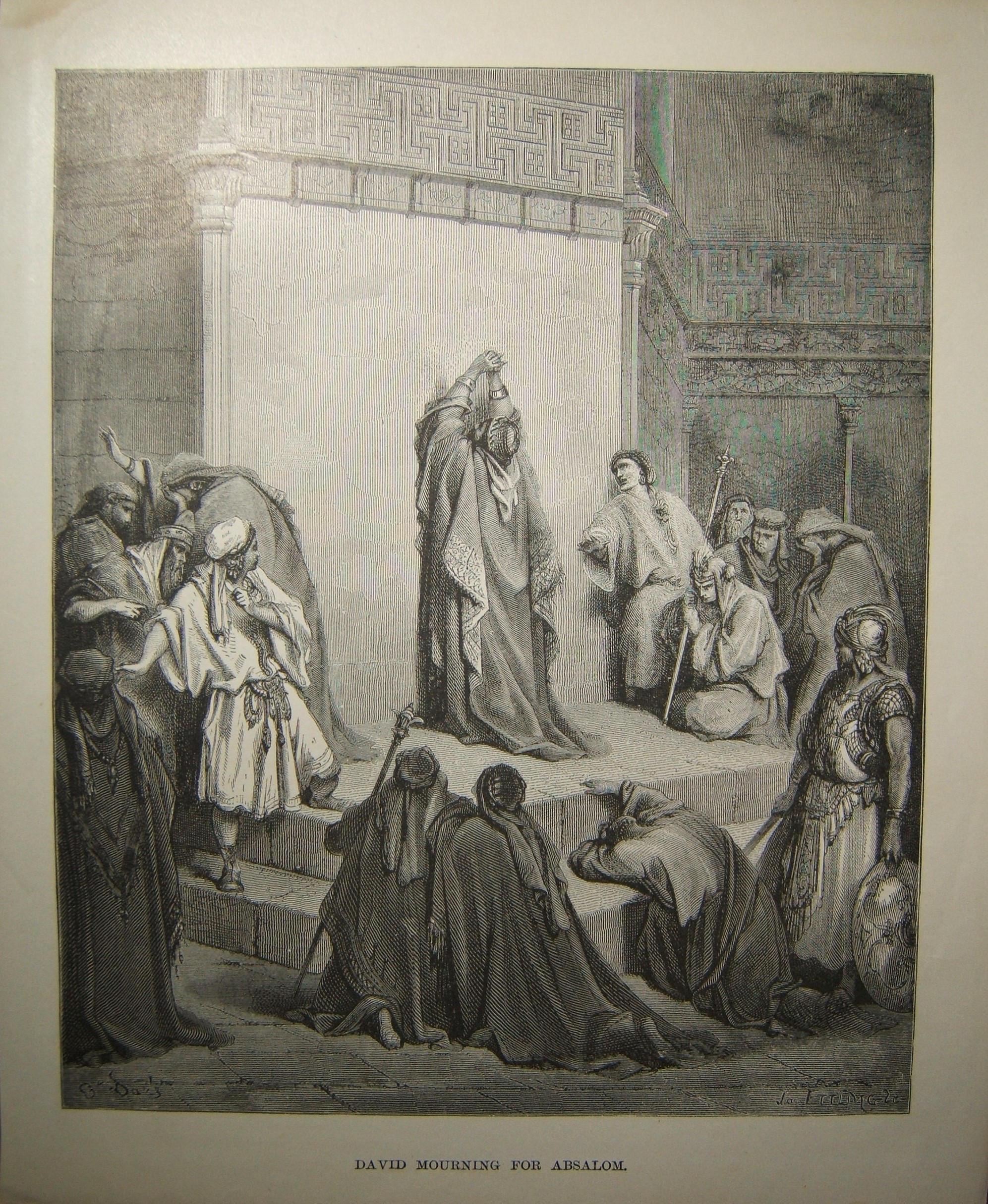 יודאיקה הדפסה מקראית דוד מורנינג לאבשלום מאת גוסטב דורא המאה ה -19