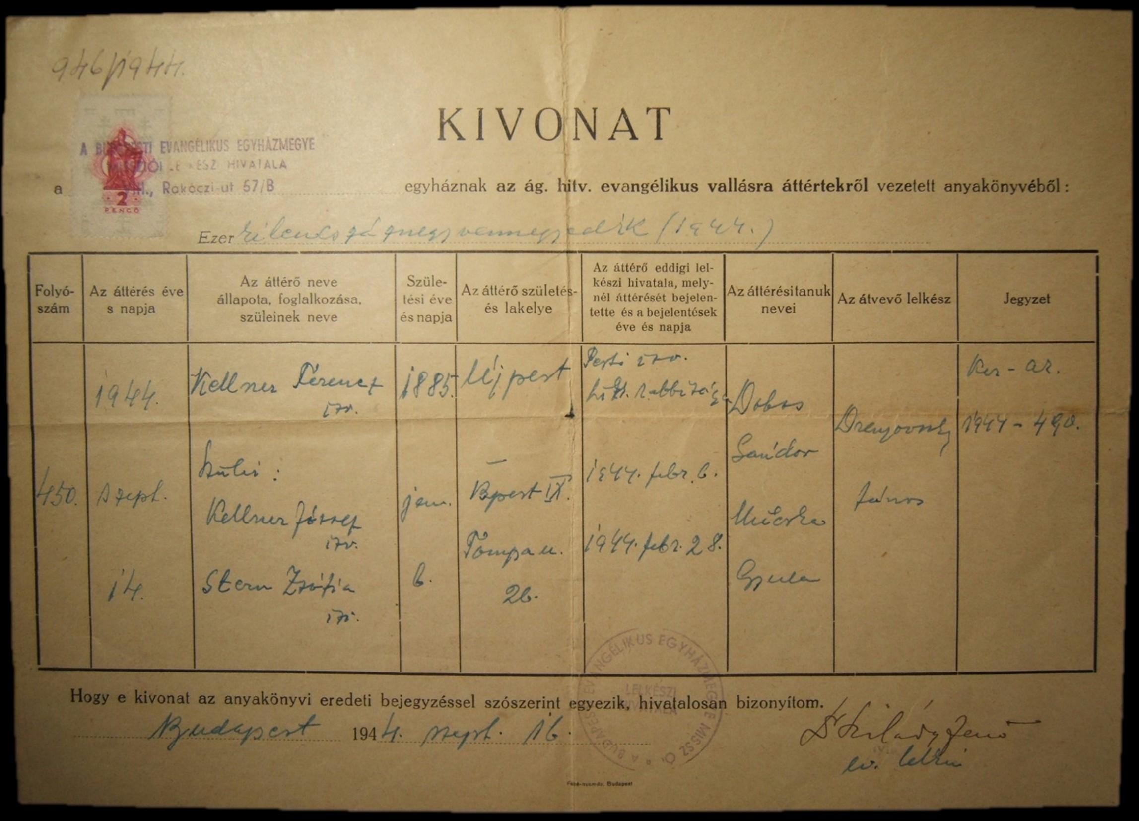 Holocaust-era Hungarian conversion document of Budpest Evangelical Church 1944