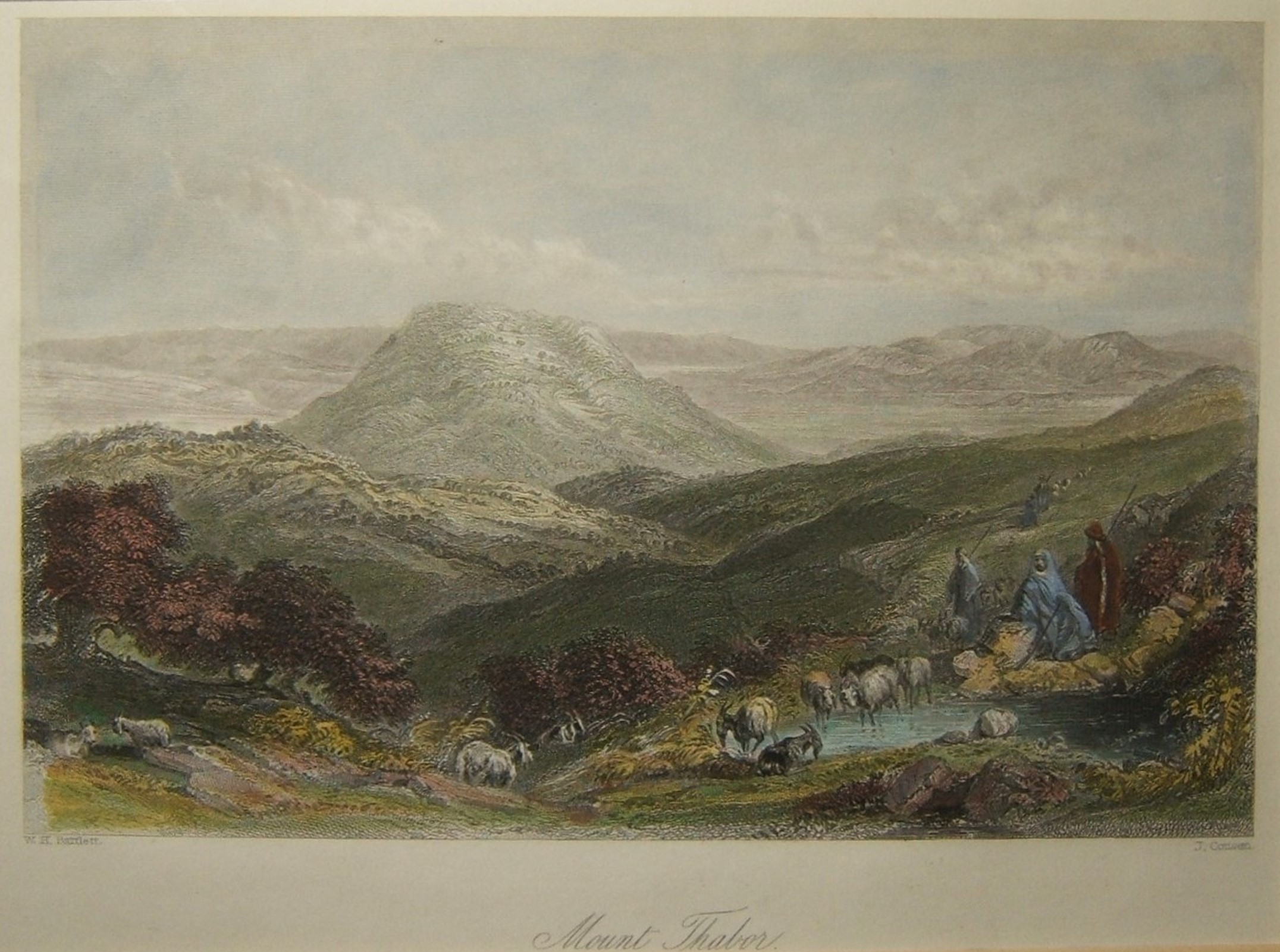 Holyland color print Mount Thabor (Tabor) by W. H. Bartlett & J. Cousen, c. 1839