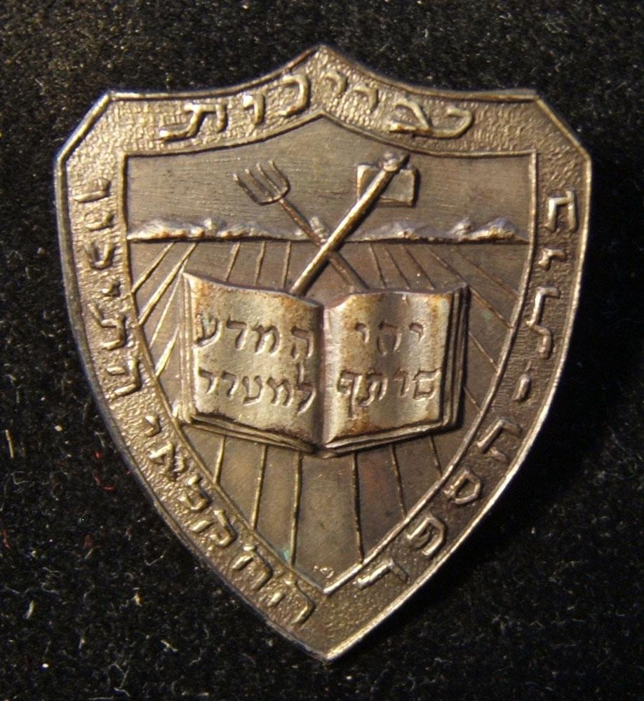 Palestine/Israel: Ayanot Agricultural High School pin, circa. 1940's-50s; not maker-marked; size: 22.5 x 26mm; 2.35g. The shield-shaped pin bears the school's emblem and name aroun