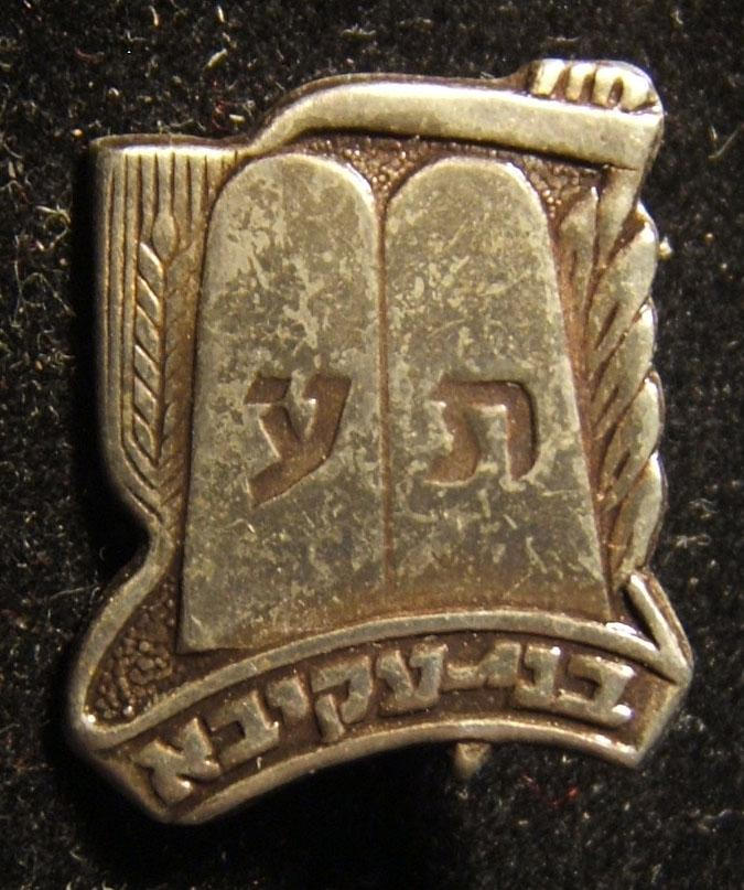 Bnei Akiva Jewish religious-Zionist youth movement shaped member's pin, 1960s