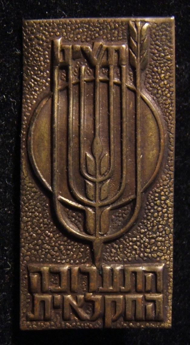 Israel: Uncolored metal participation pin of the 1959 Agricultural Exhibition held in April in Rishon LeZion; size: 16.5 x 32.5mm; weight: 2.4g. Safety-pin back.