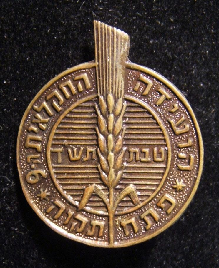 Israel: Participants pin of the 1960 9th Agricultural Conference held in Petach Tikva; size: 20 x 24.5mm; weight: 1.9g.