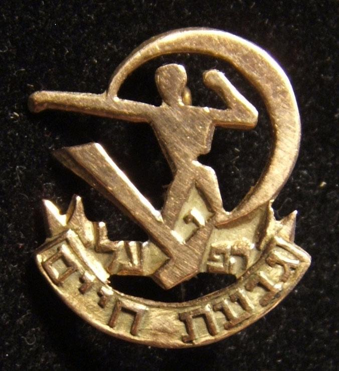 Membership pin of the HaPoel sports club of Kibbutz Givat Haim (near Hadera), circa. 1963; size: 16.5 x 19.75mm; weight: 1.05g. The club was founded at the Kibbutz in 1963.