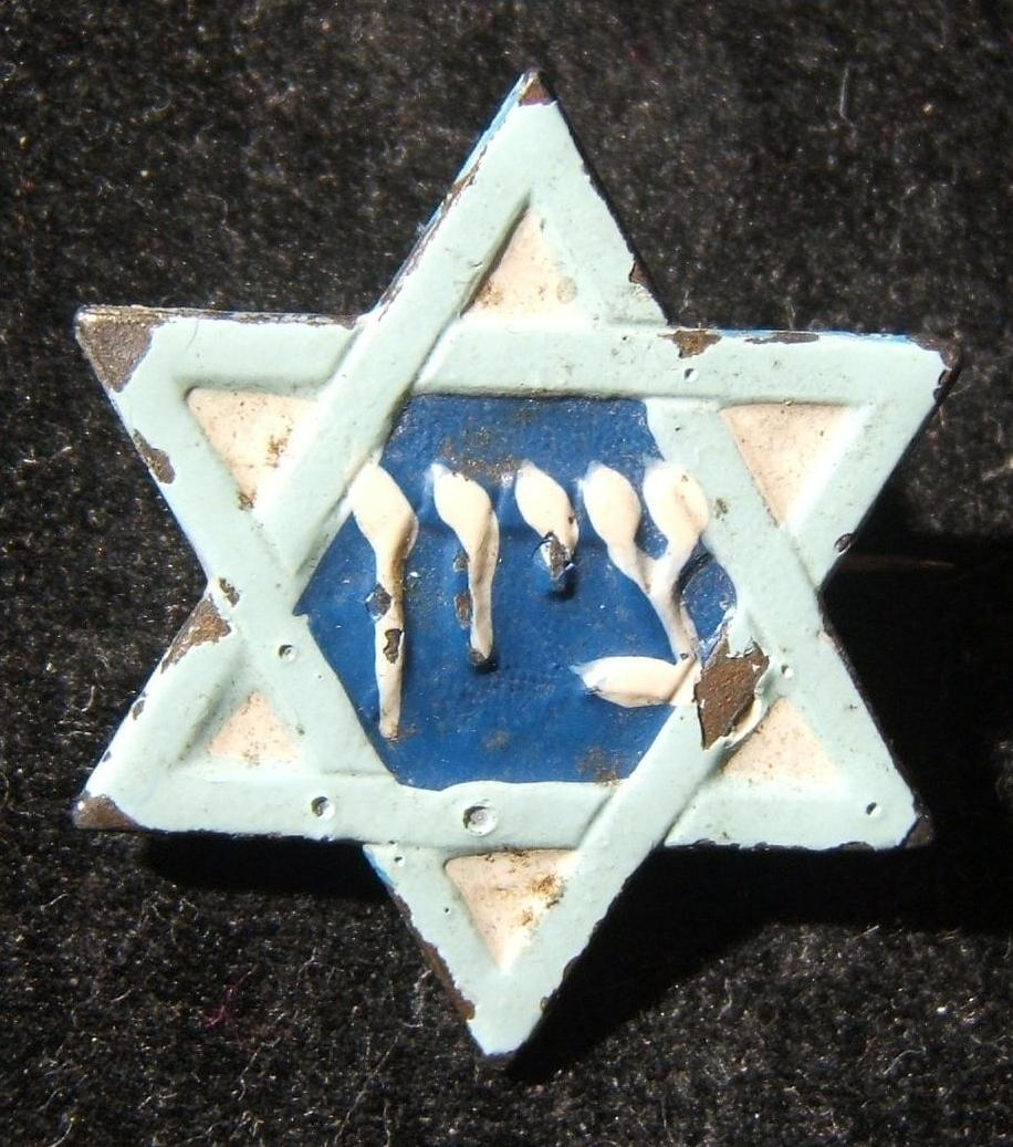 Palestine: light blue on white metal Zionist pin circa. 1920s; not maker-marked; size: 22.5x25.5mm; weight: 2.4g.