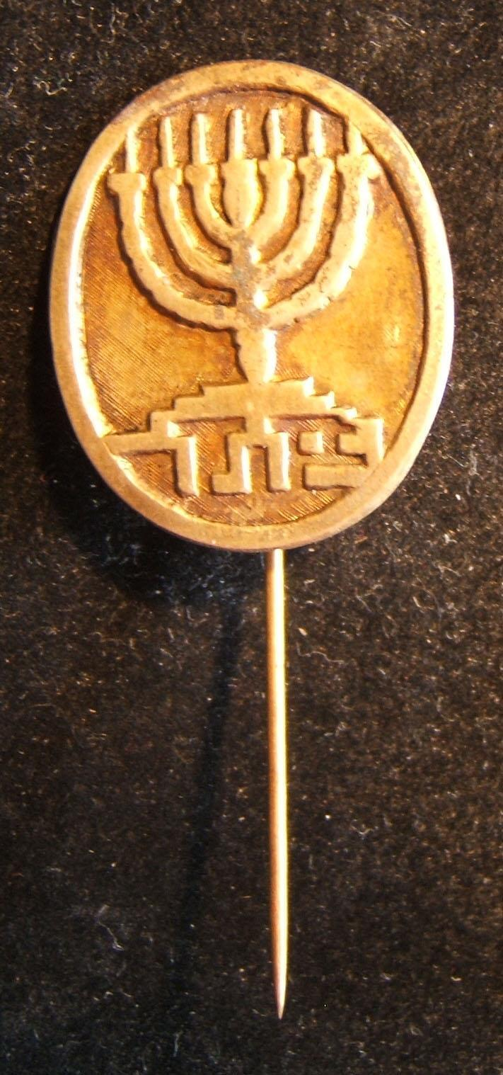 Palestine/Israel: Betar member's pin; size: 2.45 x 5.75cm; weight: 3.45g. A two-piece construction, suggesting that it is an older rather than more recent manufacture, circa. 1940'