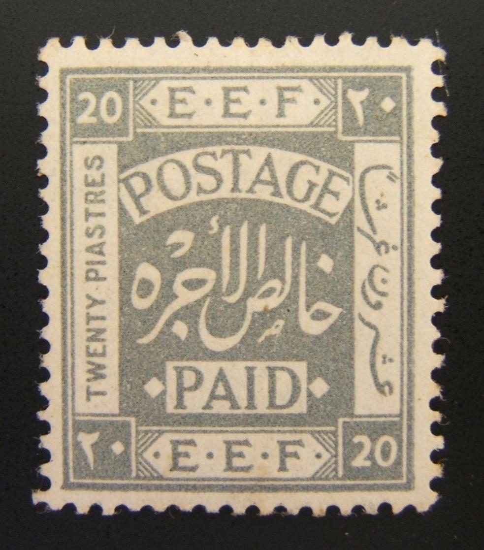 1918 EEF type III 20p slate gray stamp, mint-hinged (Ba 15a)