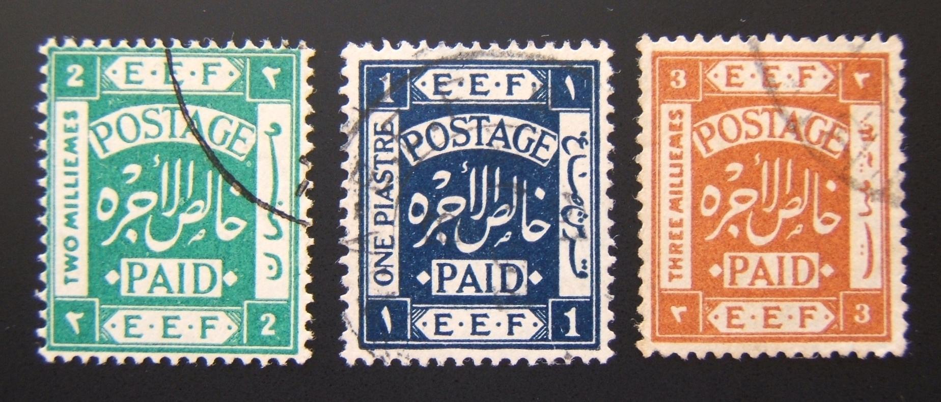 Lot x3 1918 EEF type III used stps: 2m (trunc. 2), 3m used abroad (Ba 7), 1p used abroad