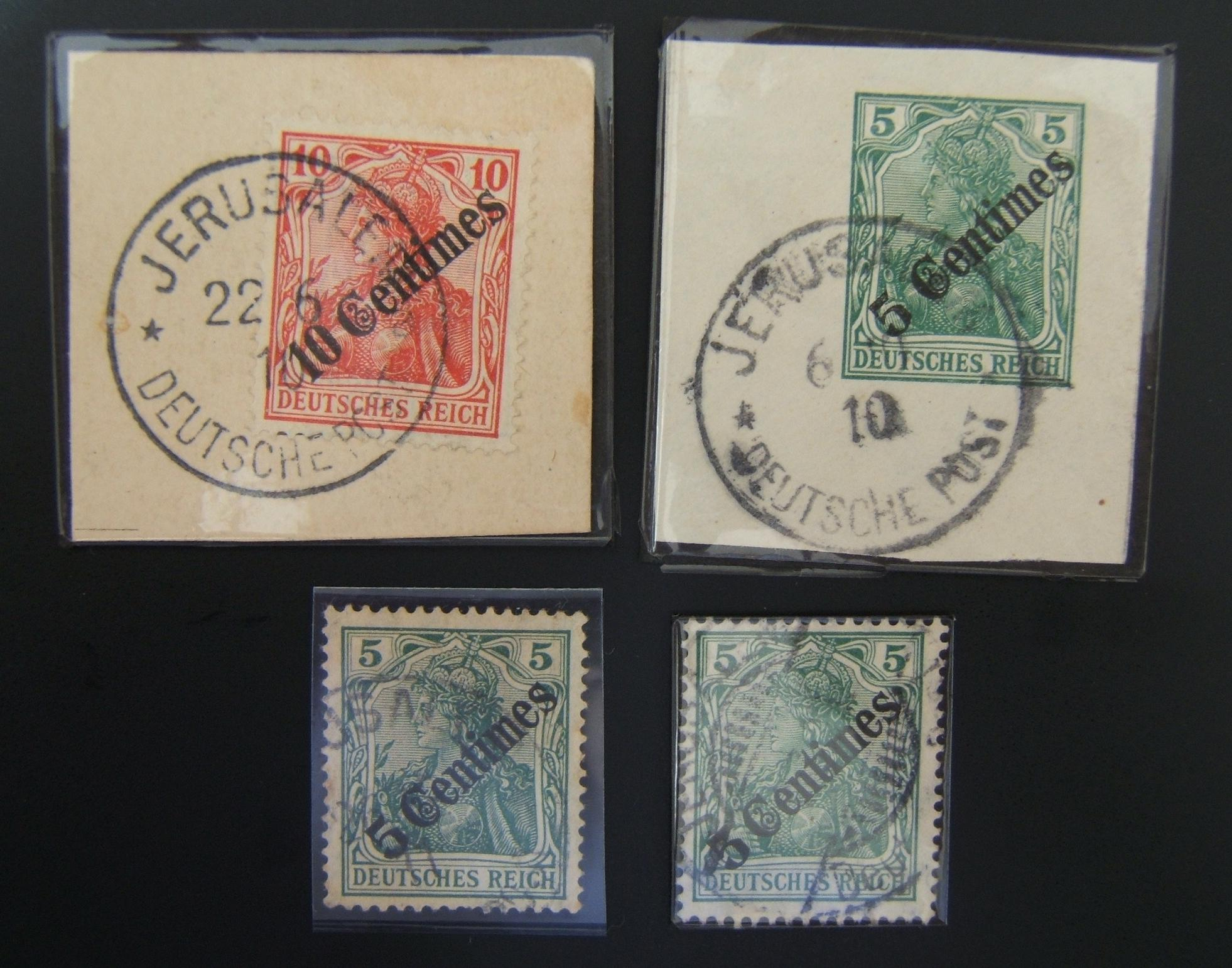 German Holyland post: lot x4 pmkd 1908 Germania stps ovpt Centimes incl cutouts