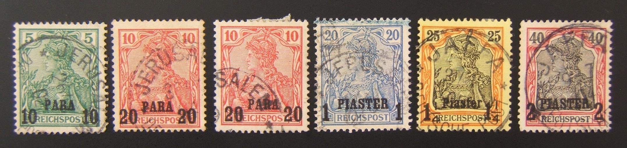 German Holyland post: lot x6 pmkd Jer. & Jaffa 1900 Germania Reichspost stamps