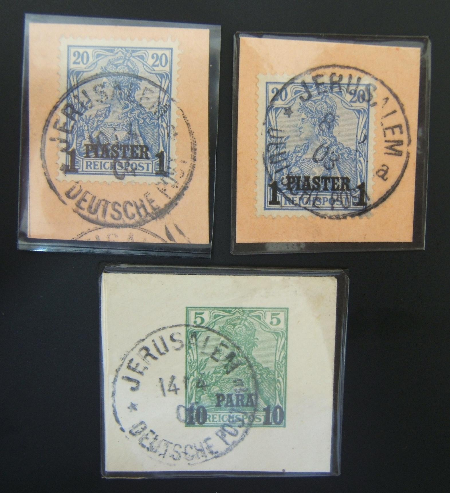 German Holyland post: lot x3 pmkd Reichspost cutouts w/roofed