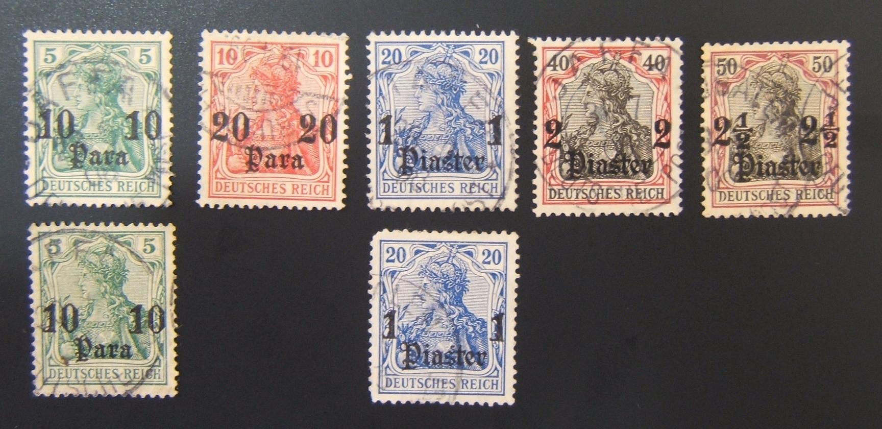 German Holyland Post: lot x7 Jer. & Jaffa pmkd Deutsches Reich stps w/wmk
