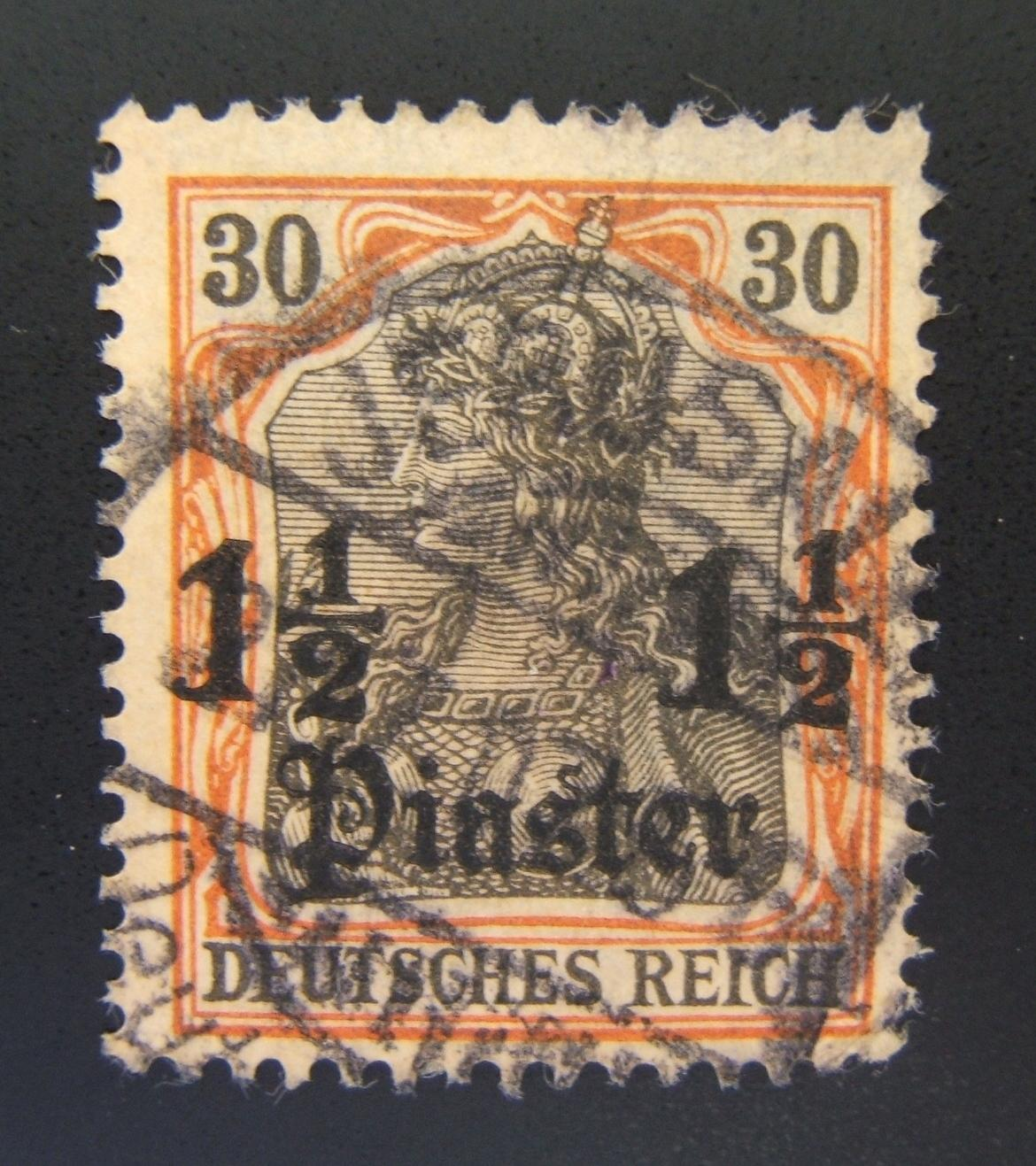 Deutsche Post Heiliges Land: 1905 Deutsches Reich 1 1/2 Pia auf 30 Pf ohne Wasserzeichen; Jer. Postmarke G-2-Ba 405
