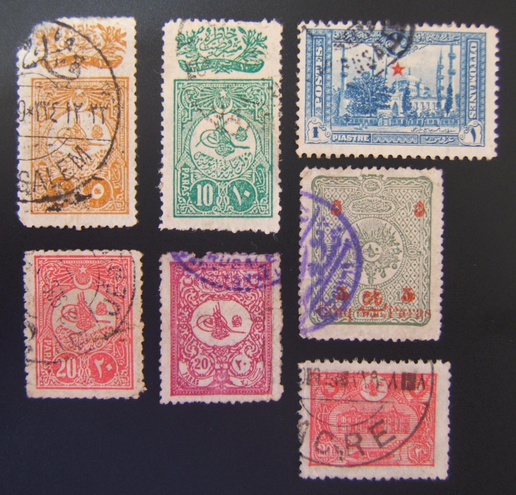 Osmanische Heiliges Land Postmarken, Menge: x7 Marken mit Jer. Jüd. Vier., Akko, Jaffa Postmarken