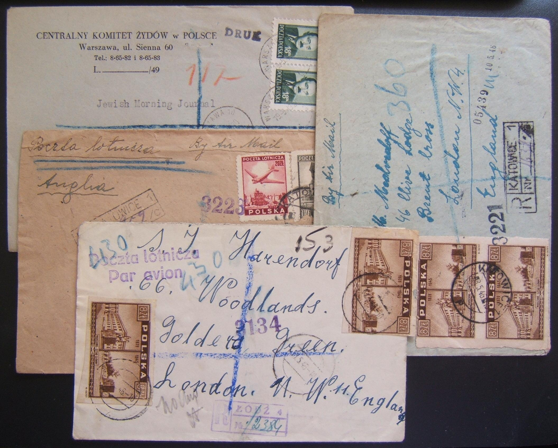 Post Holocaust Jewish mail: x4 registered commercial covers (including 1 printed matter cv) ex Poland (Warsaw, Katowice x2, Lodz), including 1 from the Central Committee of Jews in
