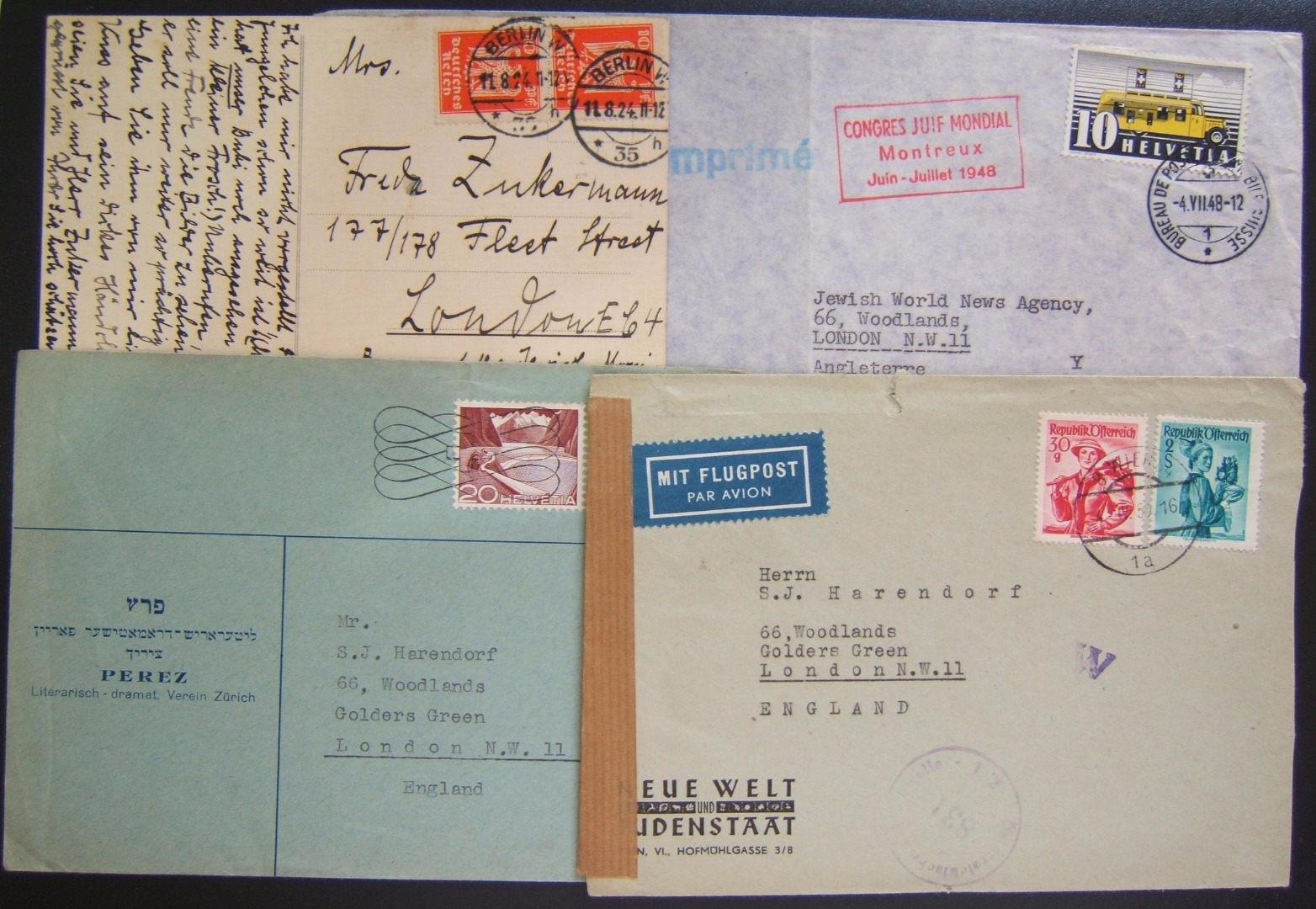 Lot x6 covers + 1 postcard sent between Jewish news and cultural organizations in Europe, 1924/1948-50; some on business stationary; x2 covers with cachets for 1948 World Jewish Co