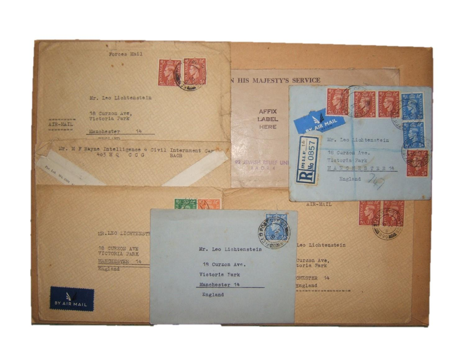 BAOR-Jewish mail: lot x7 British military cvs (6 airmail) ex intelligence officer of BAOR Ruhr region Control Commission for Germany to Jewish civilian (producer of hand painted an