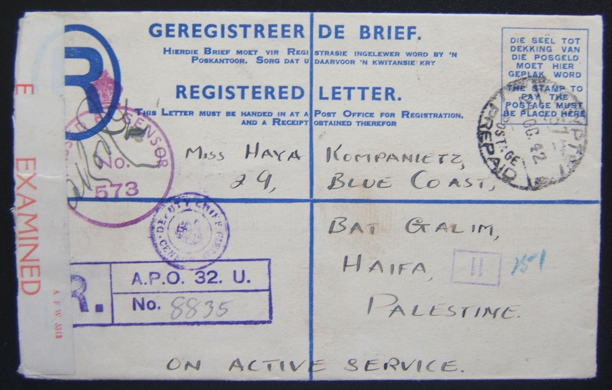 South African [Jewish?] soldier's letter to Jewish civilian Haifa using SA pre-printed 4 pence franked reg. envelope ex APO 32 (Helwan, Egypt), posted via