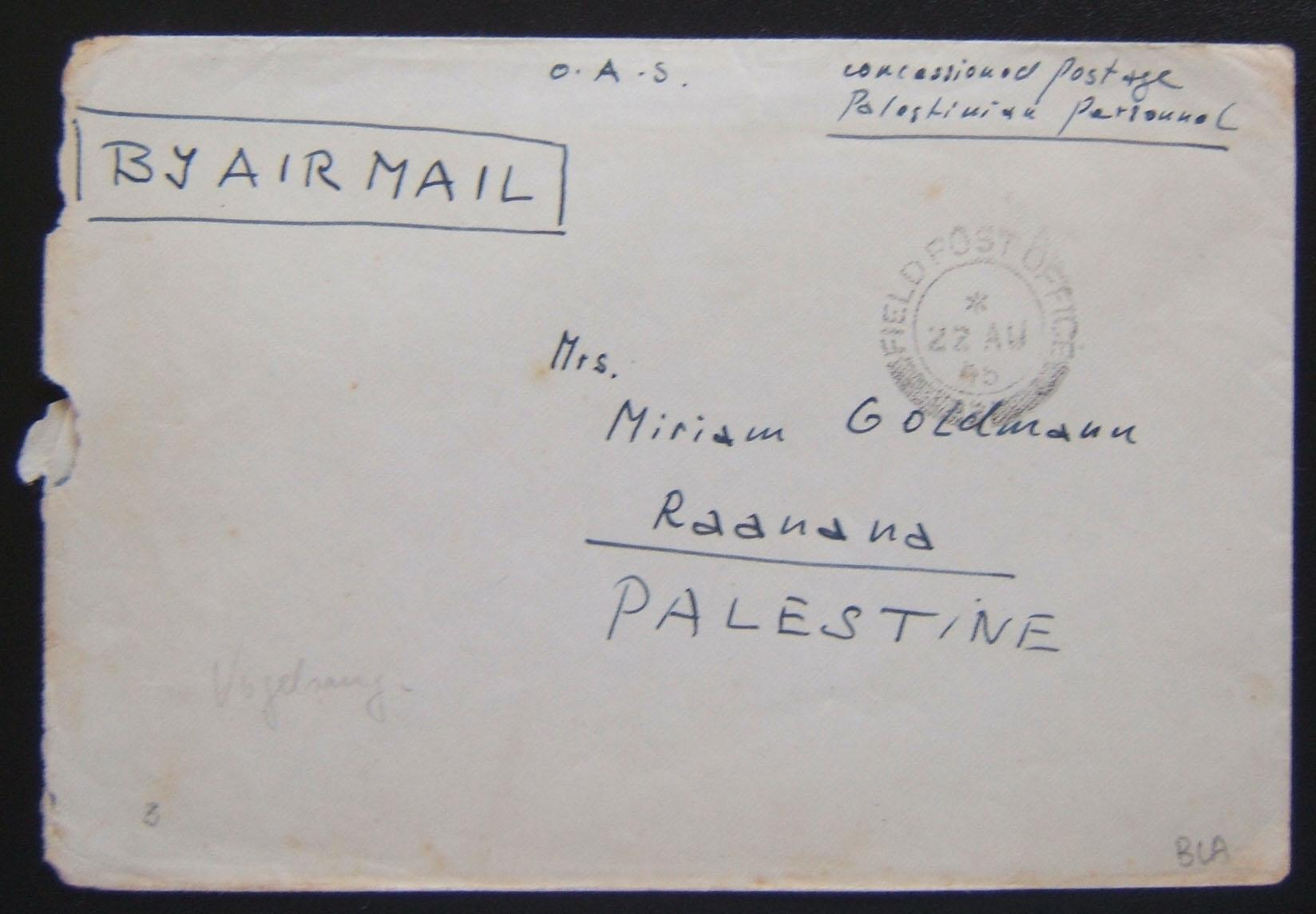 Jewish Brigade mail: stampless cv endorsed