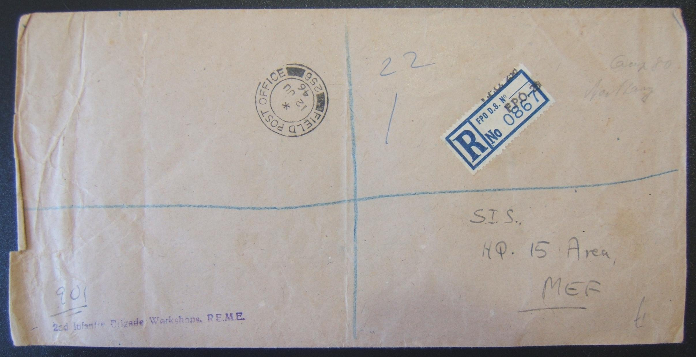 Palestine domestic military mail: registered OHMS stationary stampless cover ex FPO 256 (Royal Electrical and Mechanical Engineers [REME] unit at Camp 80, near Pardes Hanna) to SIS