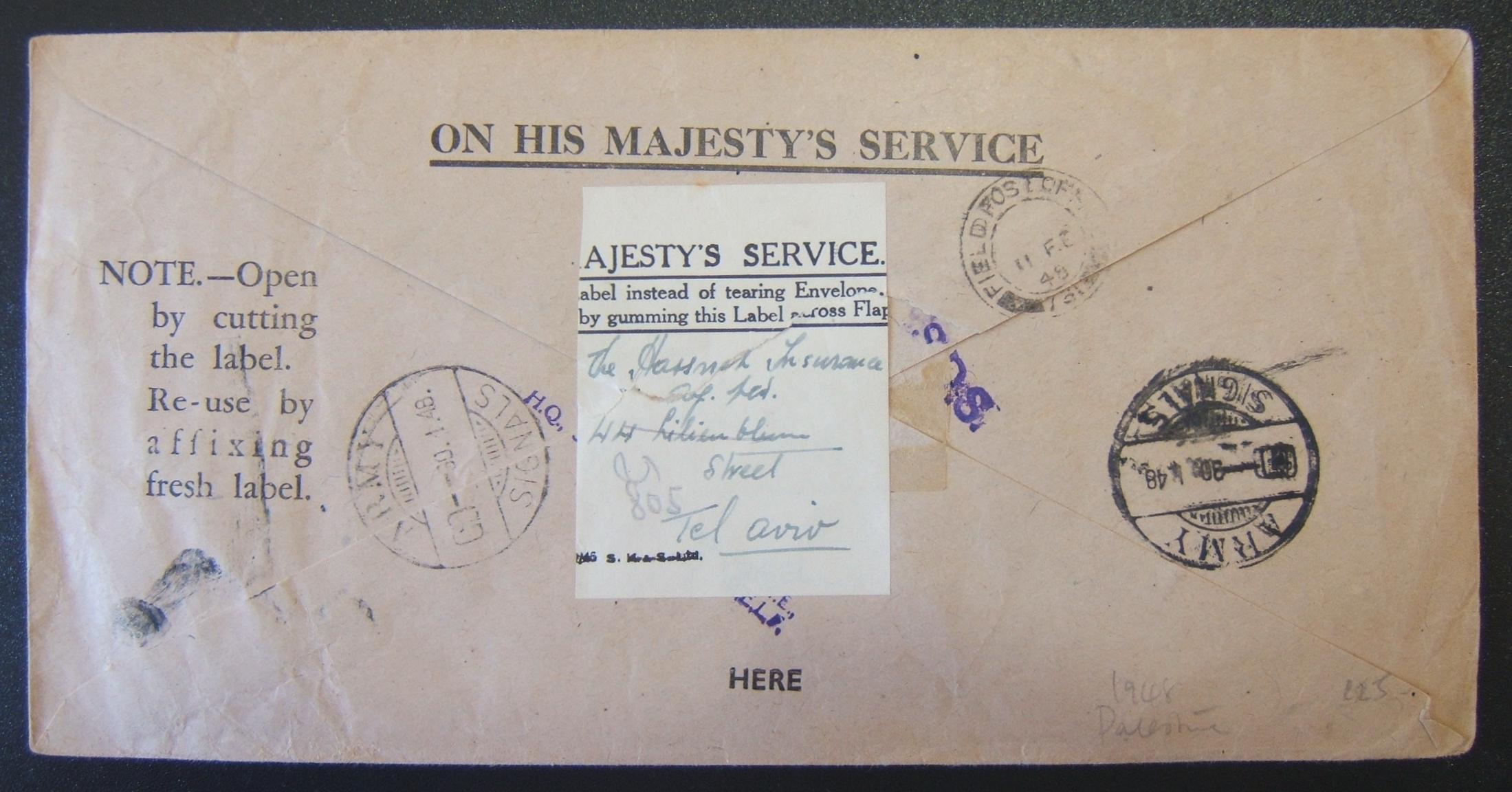 Palestine domestic military mail: OHMA stationary stampless cover ex HQ 3 Base Workshop REME (Royal Electrical and Mechanical Engineers, Haifa) to firm in TEL AVIV (re-routed to PO