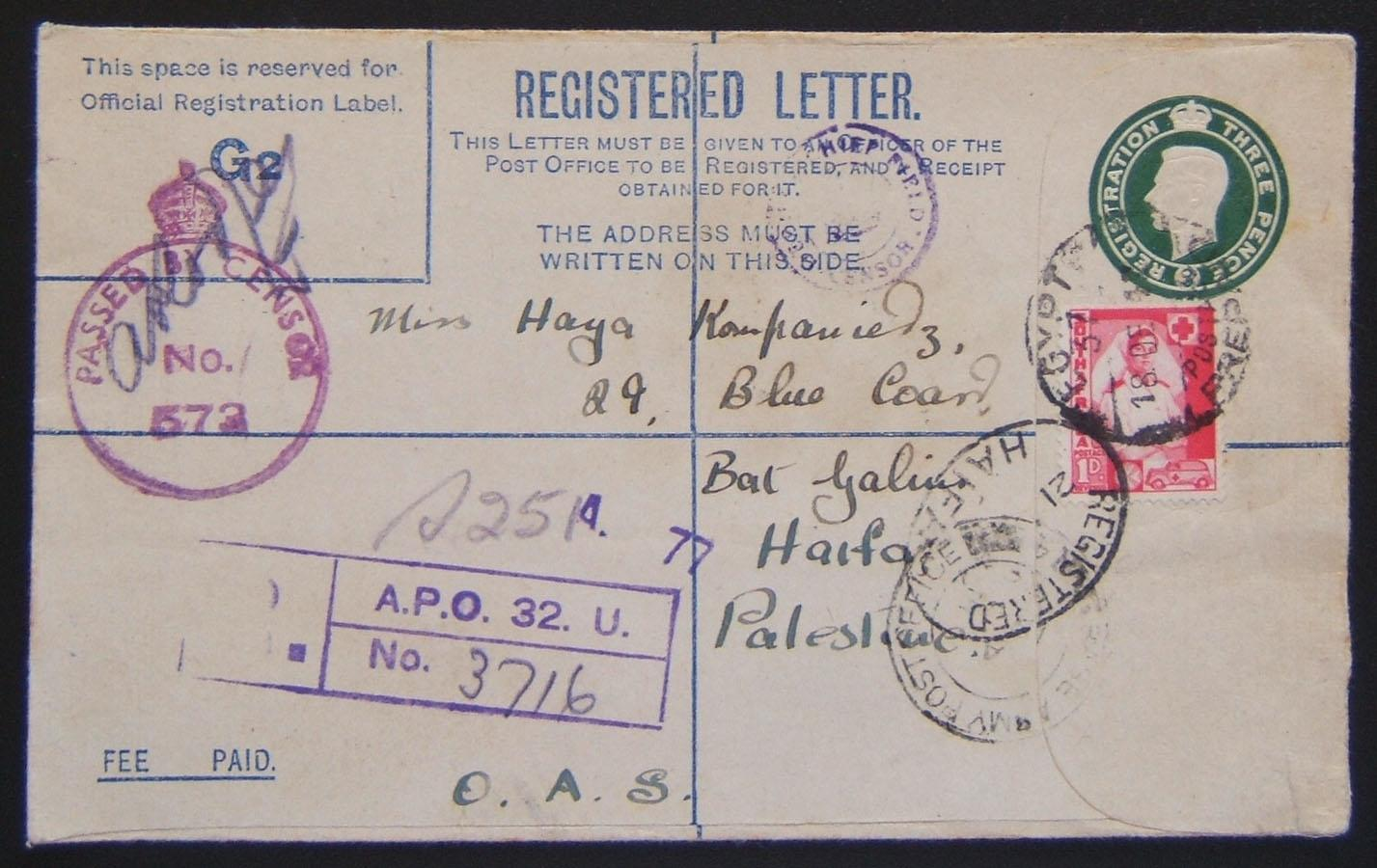 South African [Jewish?] soldier's letter to Jewish civilian HAIFA using 1939 British Army 3d KGVI reg. envelope (Ba BF.02 A2) + 1d SA frank ex APO 32 (Helwan, Egypt - per the R cac