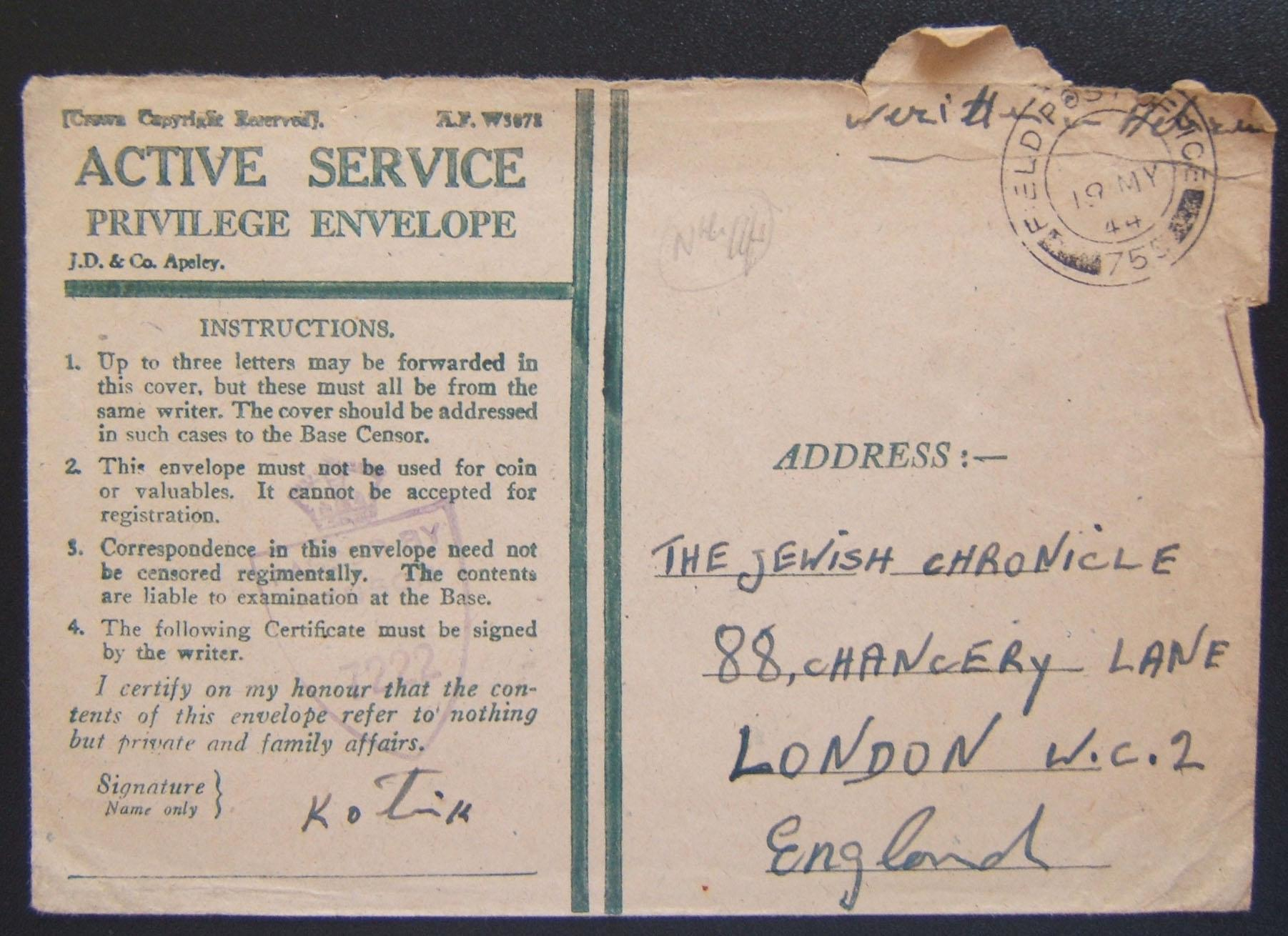 Jewish soldier's mail: stampless Active Service Privilege Envelope ex FPO 755 (Barletta, Italy) to Jewish Chronicle LONDON, 19 MY 44, with purple base censor cachet ('privilege' ma