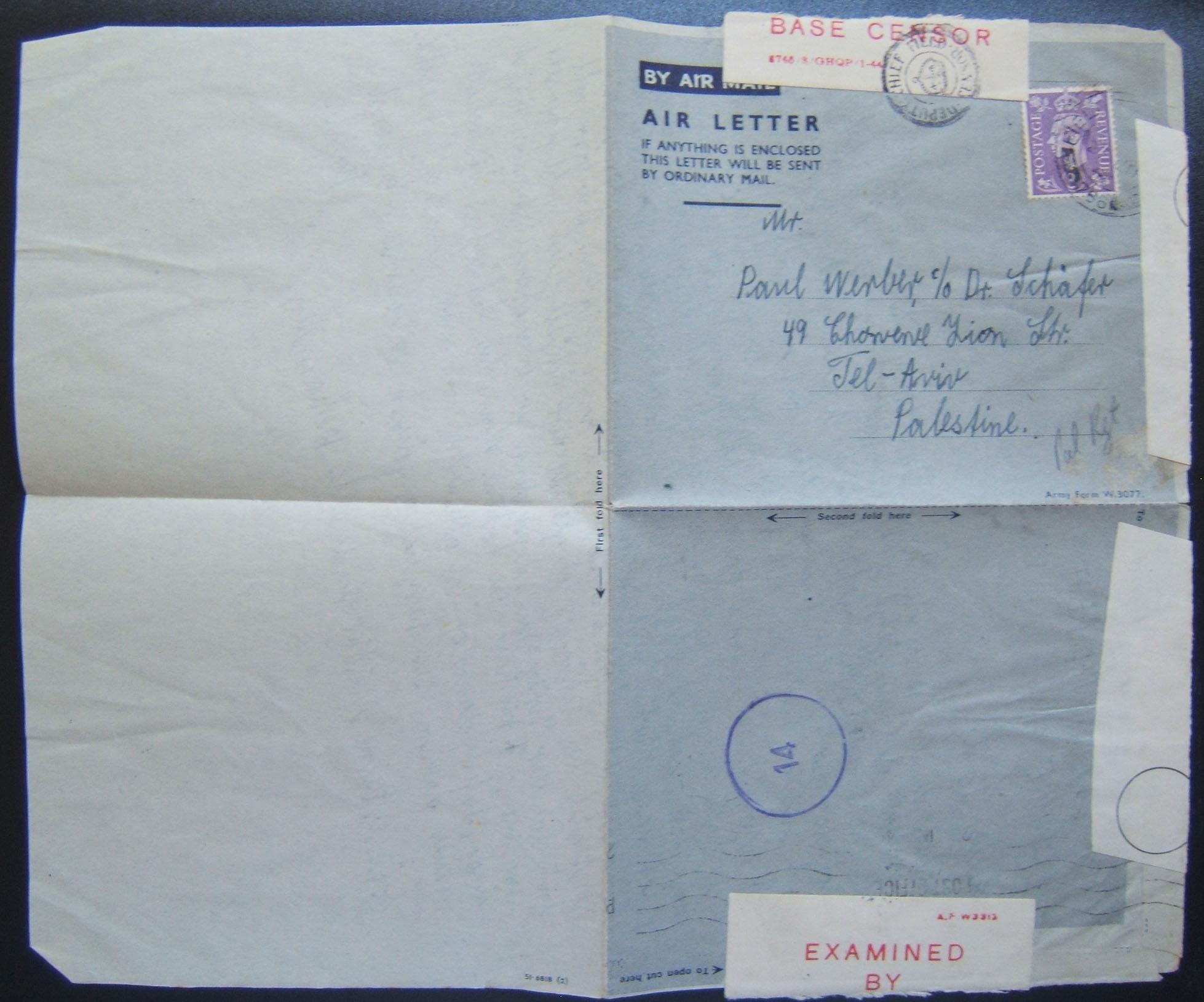 Jewish Brigade mail: army airmail air letter franked 3d ex FPO 766 (Genoa, Italy) to TEL AVIV, 23 JU 45; opened and resealed by base censor; with machine cancellation on back, and