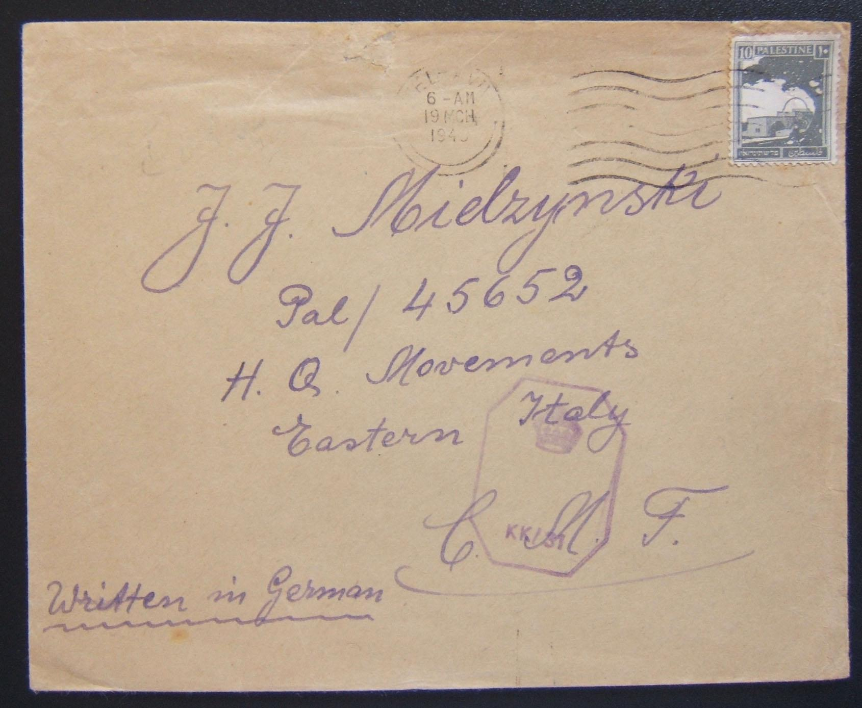 Jewish Brigade Group mail: scarce civilian cover posted to soldier serving in the JBG, ex TEL AVIV to soldier [care of] Headquarters Movements - Eastern Italy (of the Central Medit