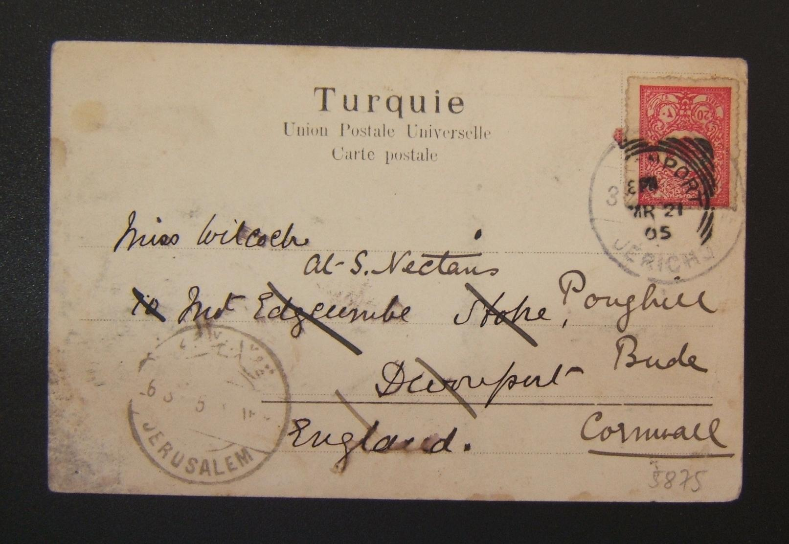 Turkish PPC ex Jericho to Devonport via Jerusalem, redirected locally, 1905