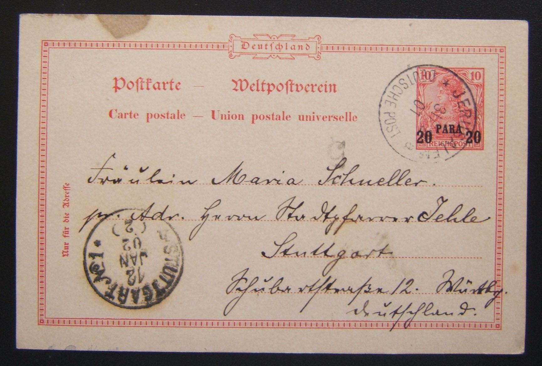 German PC w/pre-printed frank ex Jerusalem to Stuttgart via German PO, 1901-02