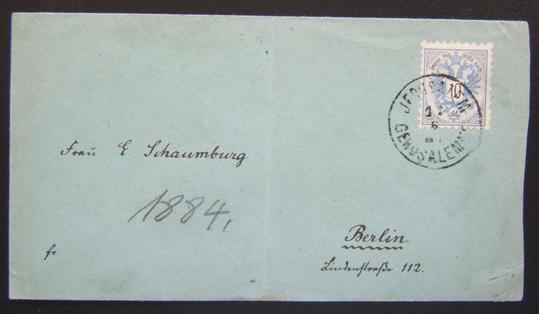 cvr ex Jerusalem to Berlin via Austrian PO, franked 10 Soldi w/arr pmk 24 Jun 1884