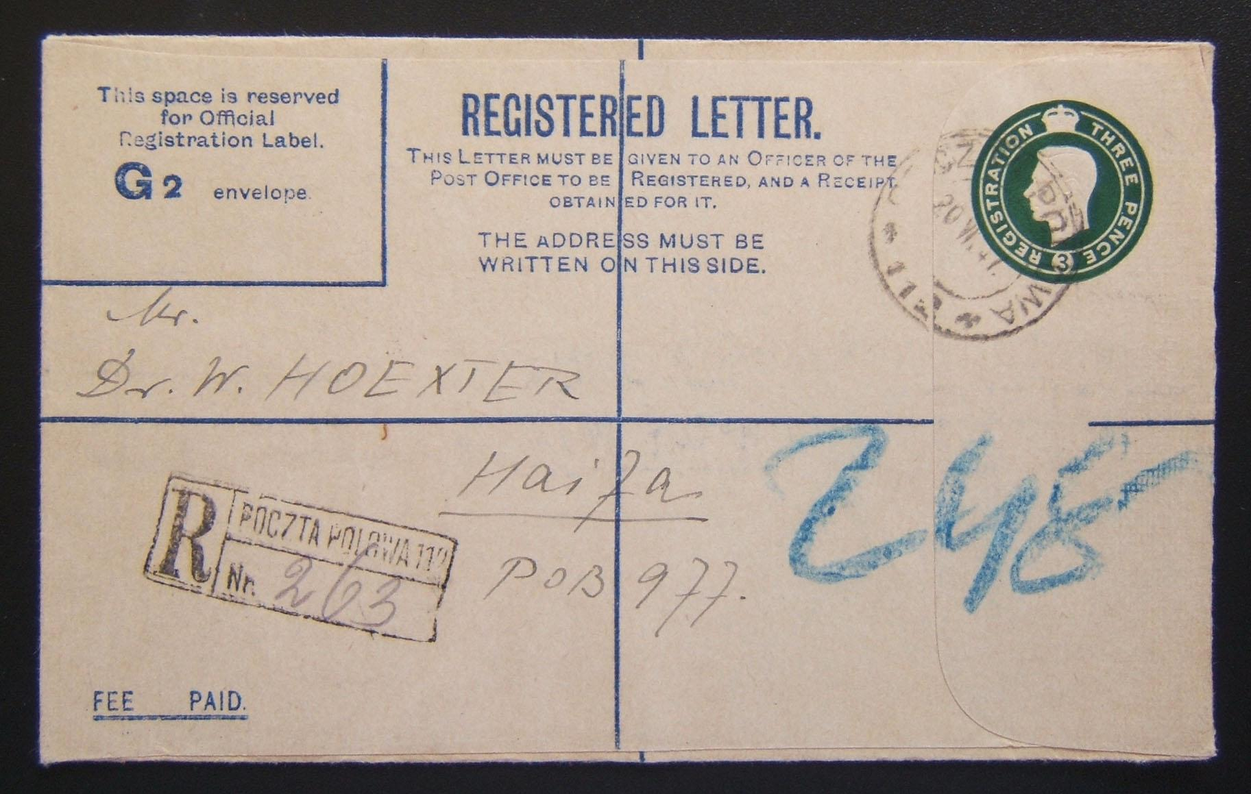 Polish Forces in Palestine mail: 1939/44 British Army KGVI registration envelope (Ba BF.02 A2) ex Polish FPO