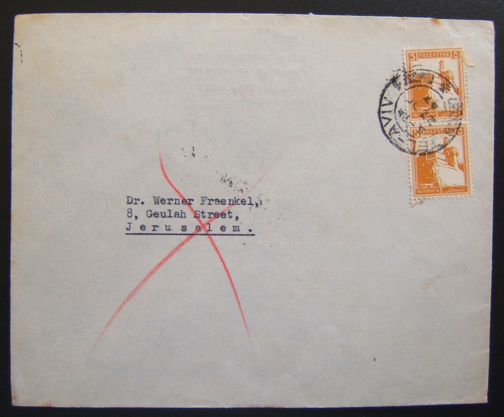1947 Mandatory returned mail: 27 OC 47 comm cv ex TLV to J'LEM franked 10m at period letter rate using vert pair Pictorals Ba93 tied by single strike of local pmk; received J'lem o